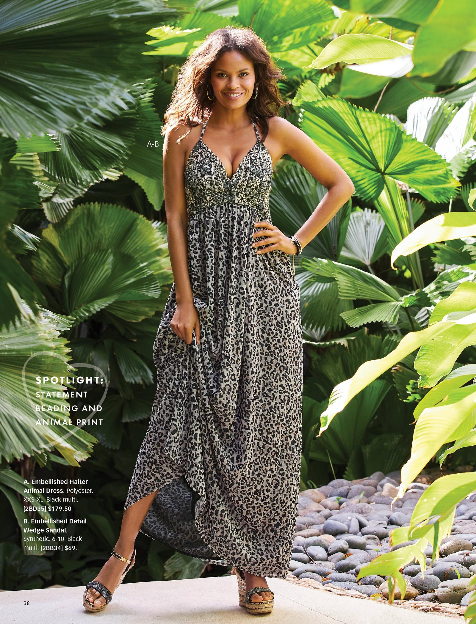 model wearing an embellished leopard print sleeveless maxi dress and black and natural embellished wedges.