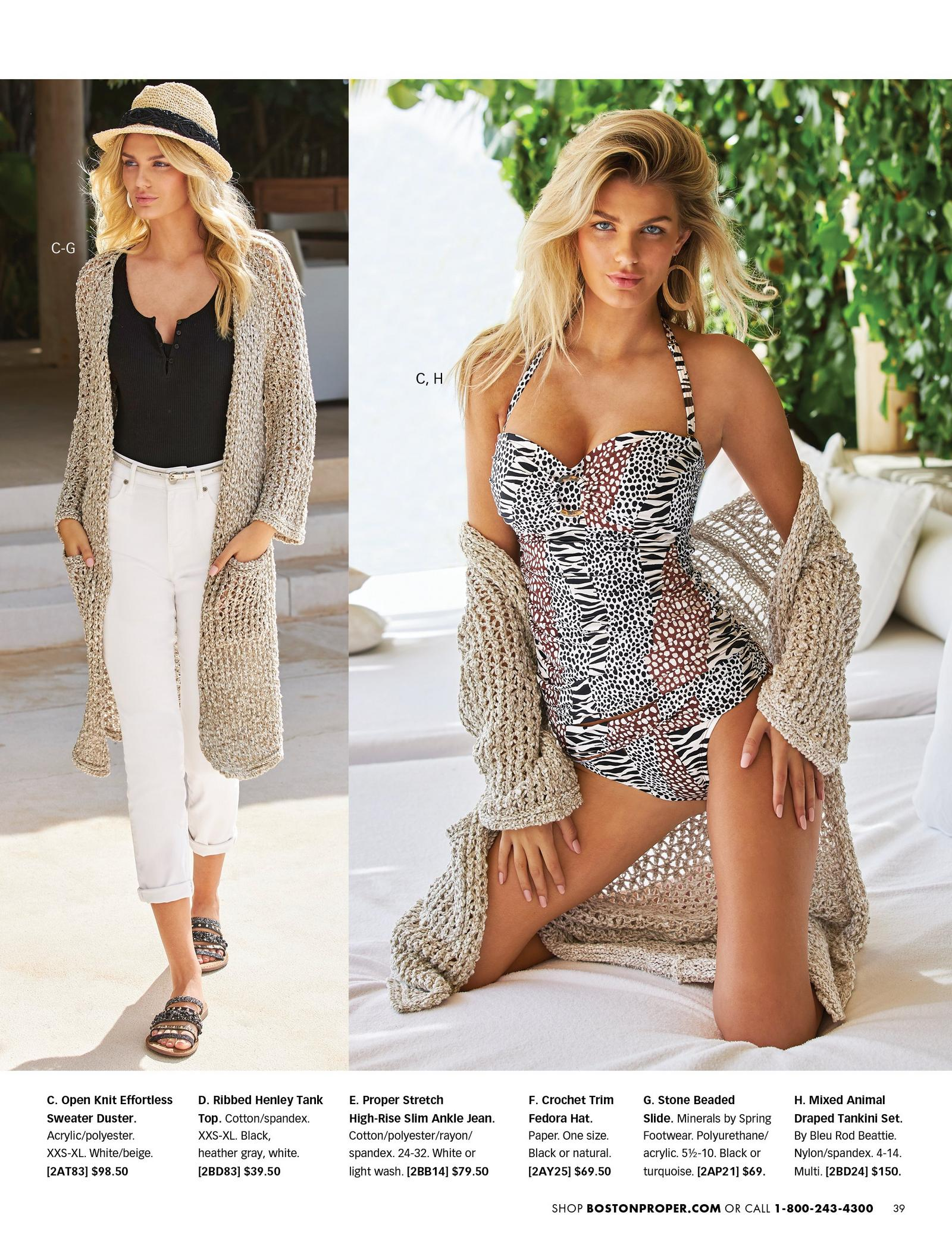 left model wearing an open-knit beige sweater duster, black henley tank top, white jeans, straw hat, and black and gold strappy sandals. right model wearing a mixed animal print tankini set and an open knit sweater duster in beige.