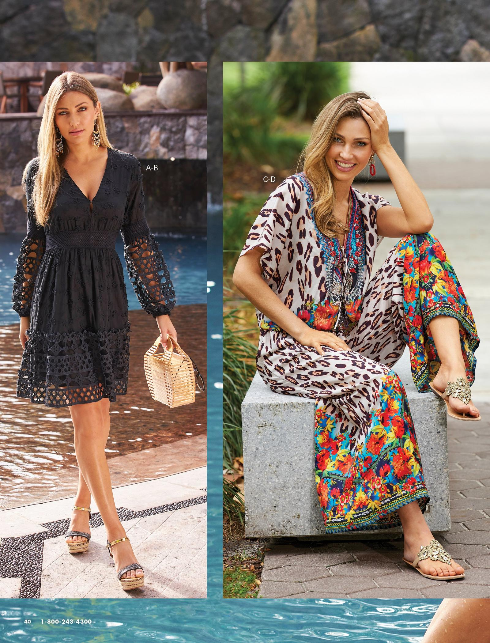 left model wearing a black long-sleeve lace dress, black and natural embellished wedges, and holding a small straw bag. right model wearing a multicolored tropical and animal print blouson jumpsuit and gold embellished sandals.