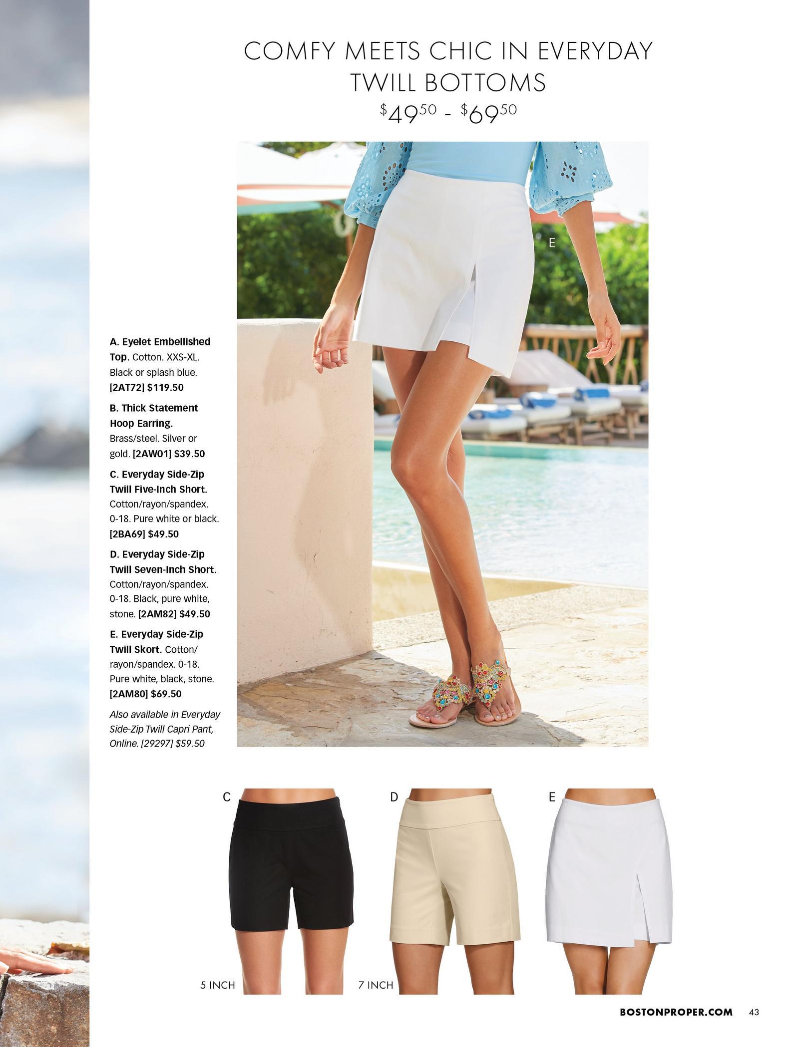 top model wearing a white skort. bottom left to right: black 5-inch shorts, khaki 7-inch shorts, white skort.