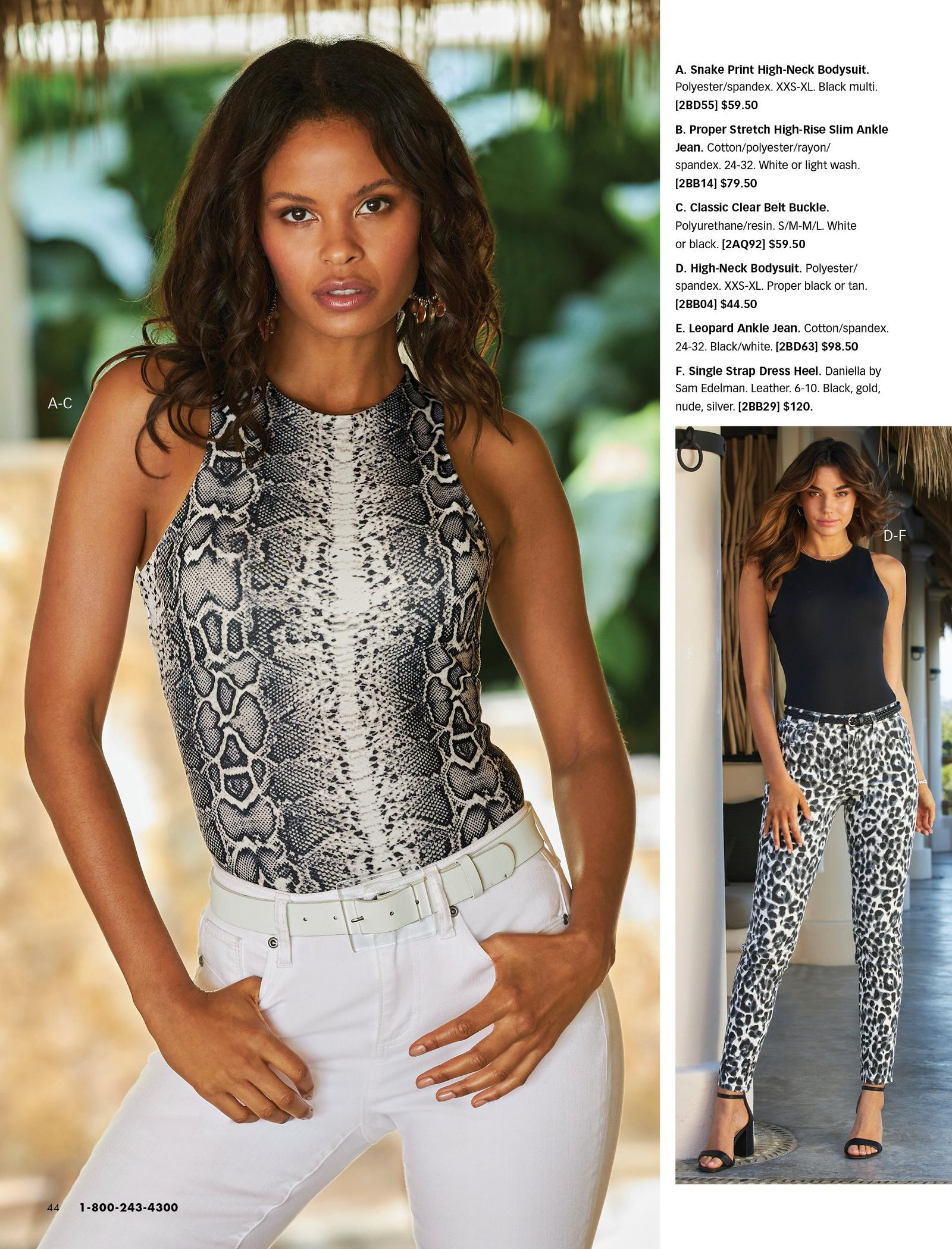model wearing a black and white snake print high-neck tank top, white belt, and white jeans. right model wearing a black high-neck sleeveless top, black belt, leopard print black and white jeans, and black single-strap heels.