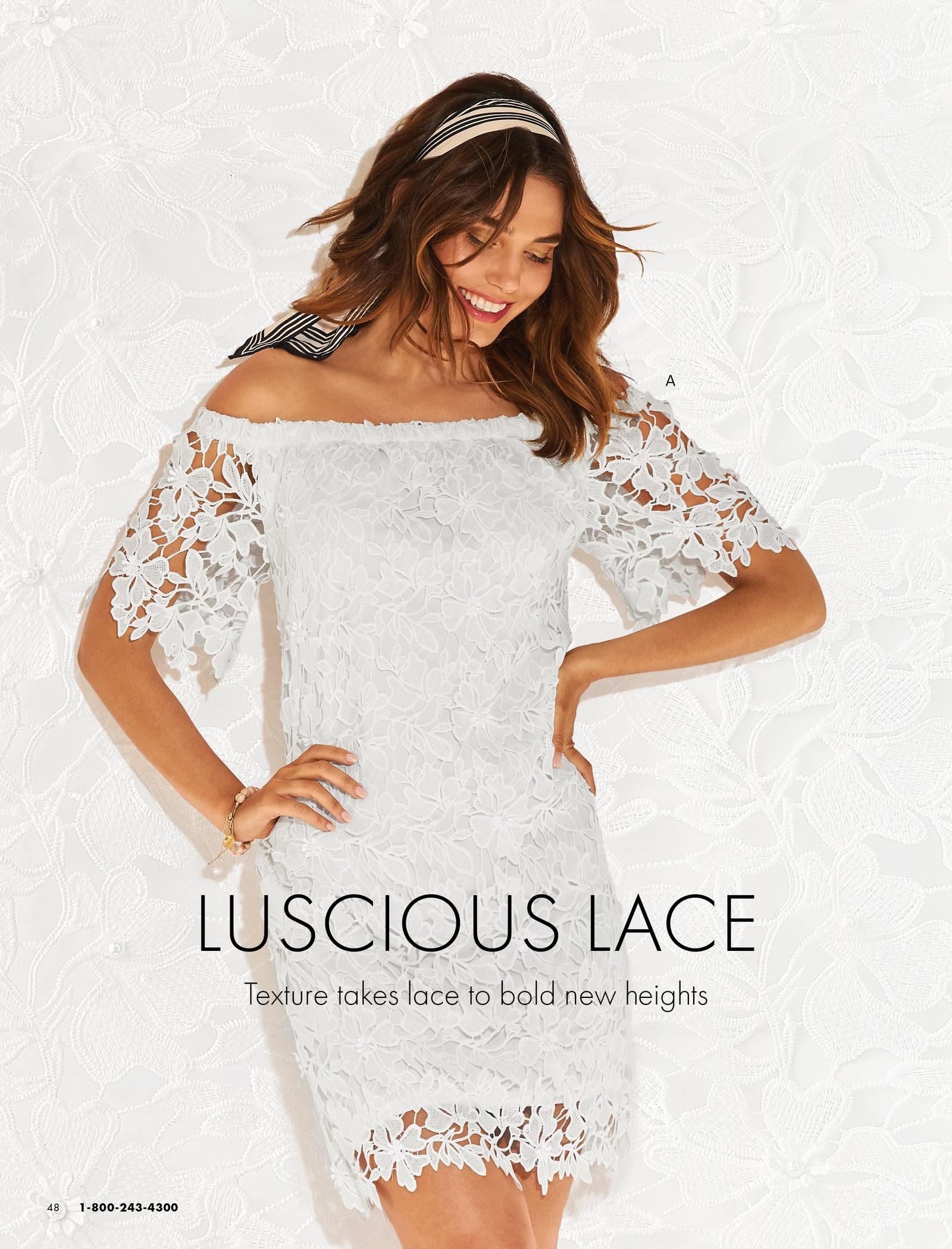 model wearing a white lace off-the-shoulder dress.
