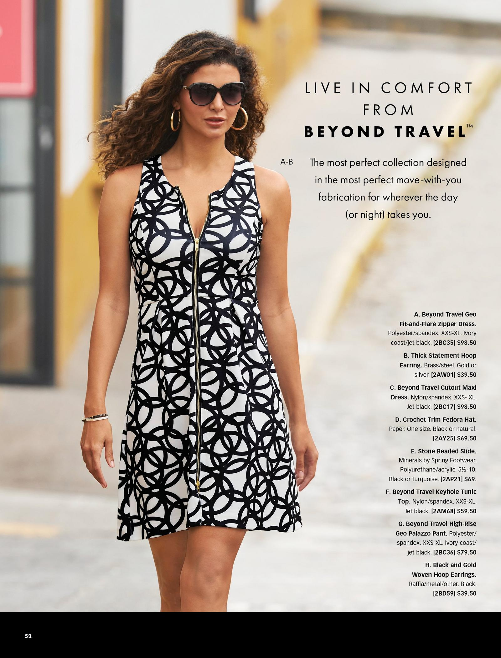 model wearing a black and white printed fit-and-flare zipper dress, gold hoop earrings, and sunglasses.