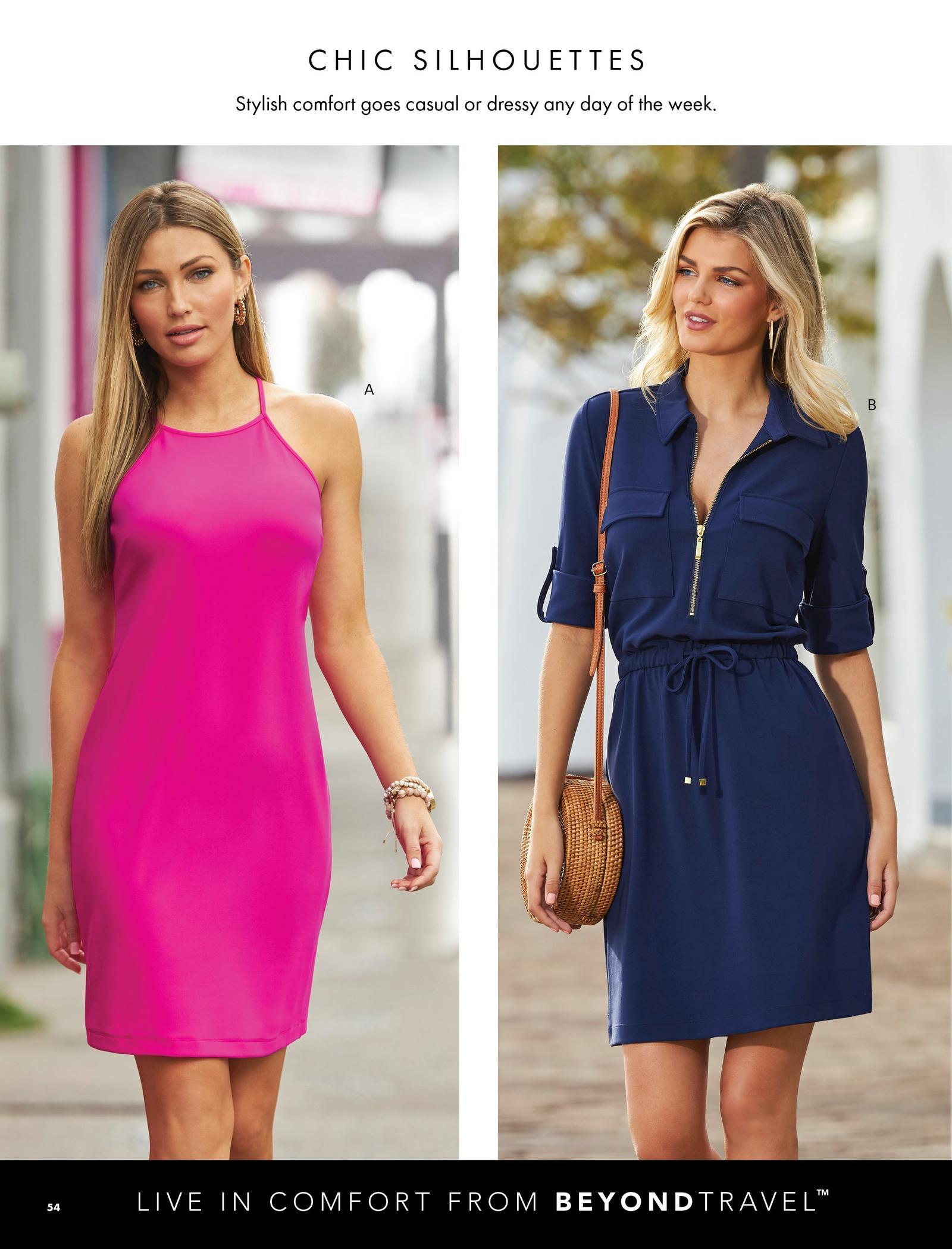 left model wearing a hot pink sleeveless short dress. right model wearing a navy blue short sleeve zip-up collared dress.