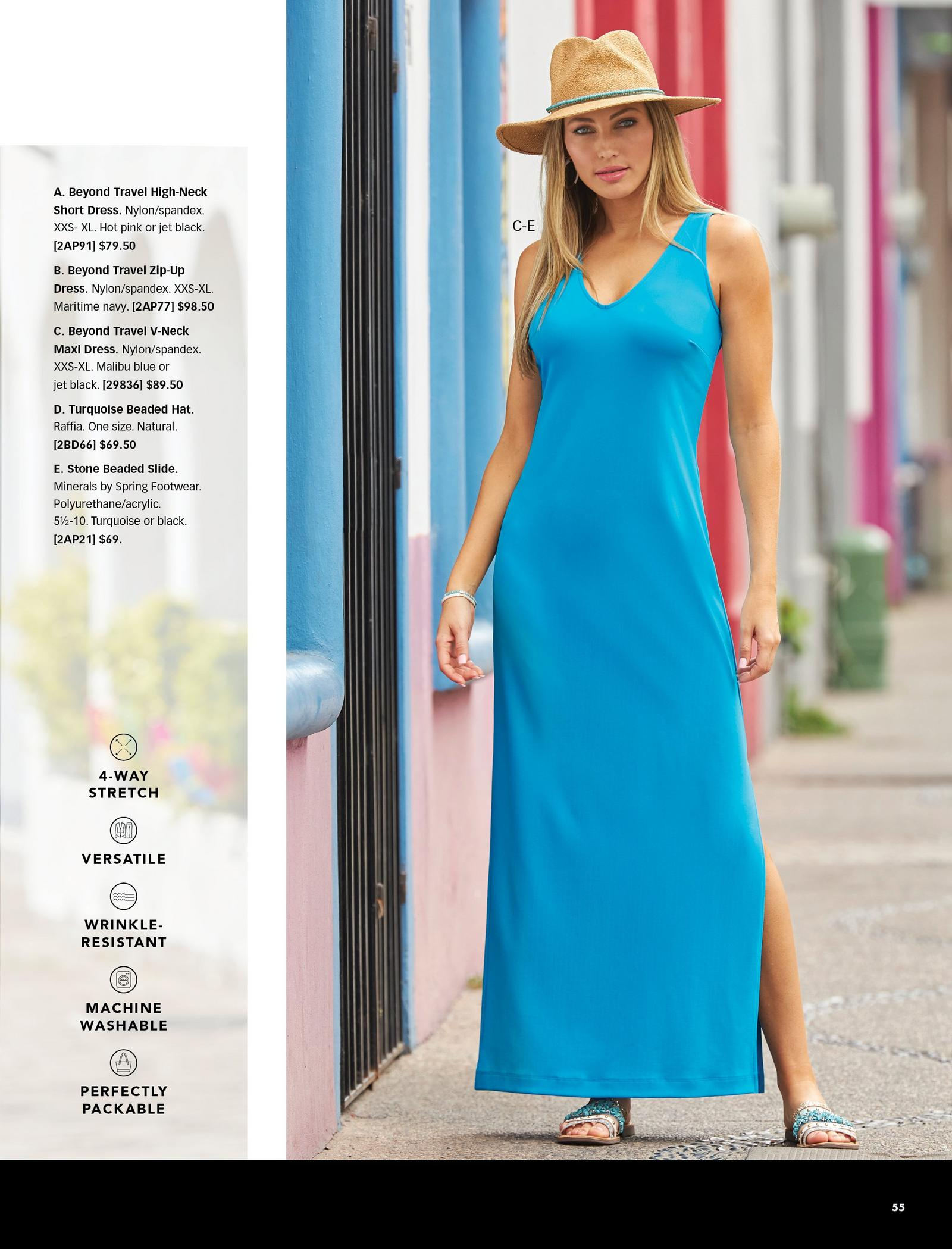 model wearing a blue sleeveless v-neck maxi dress, straw hat, and blue beaded slide sandals.