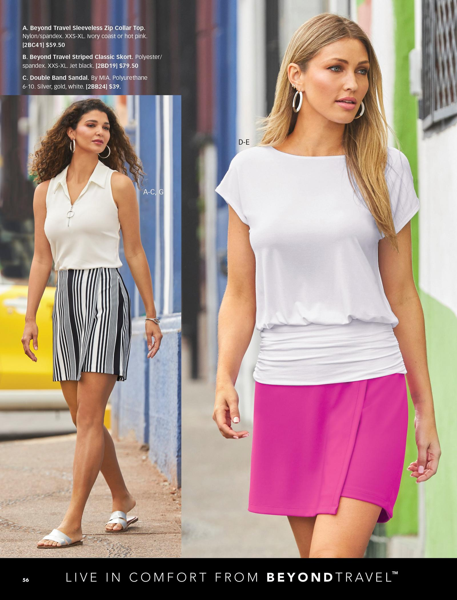 left model wearing a white sleeveless collared top, black and white striped skort, silver hoop earrings, and silver double-strap sandals. right model wearing a white cap-sleeve blouson top, hot pink skort, and white hoop earrings.