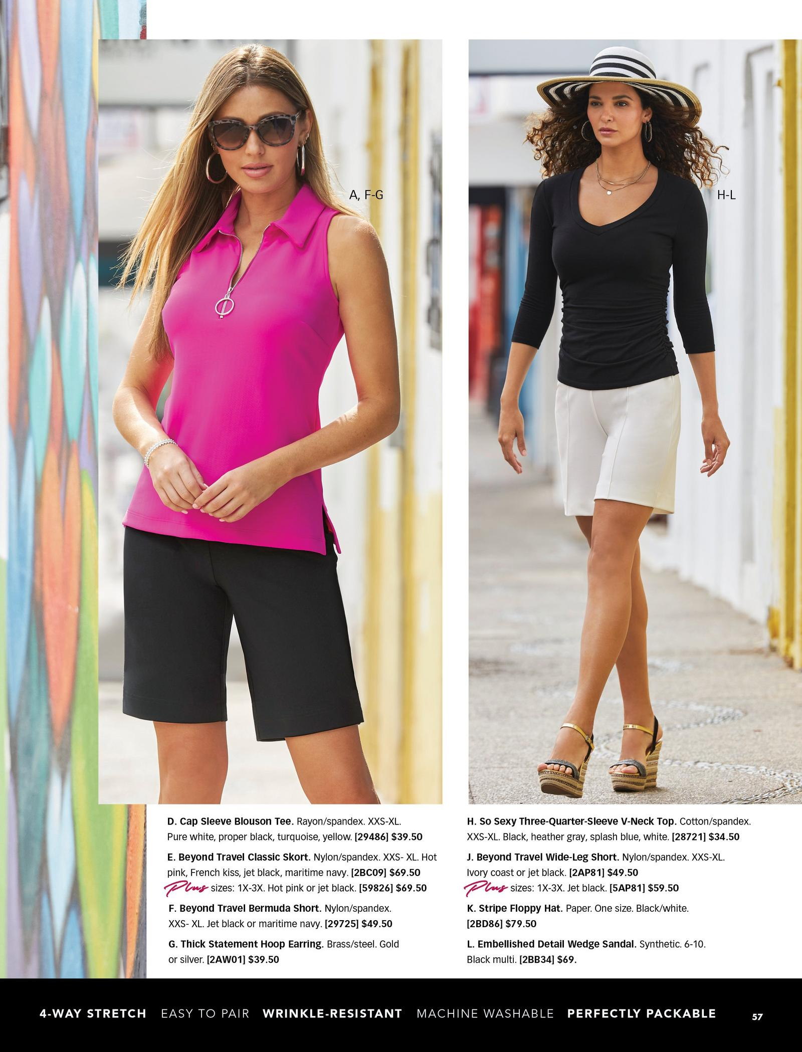 left model wearing a hot pink sleeveless collared top, black bermuda shorts, and sunglasses. right model wearing a black three-quarter sleeve top, khaki wide-leg shorts, embellished wedges, and a striped floppy hat.