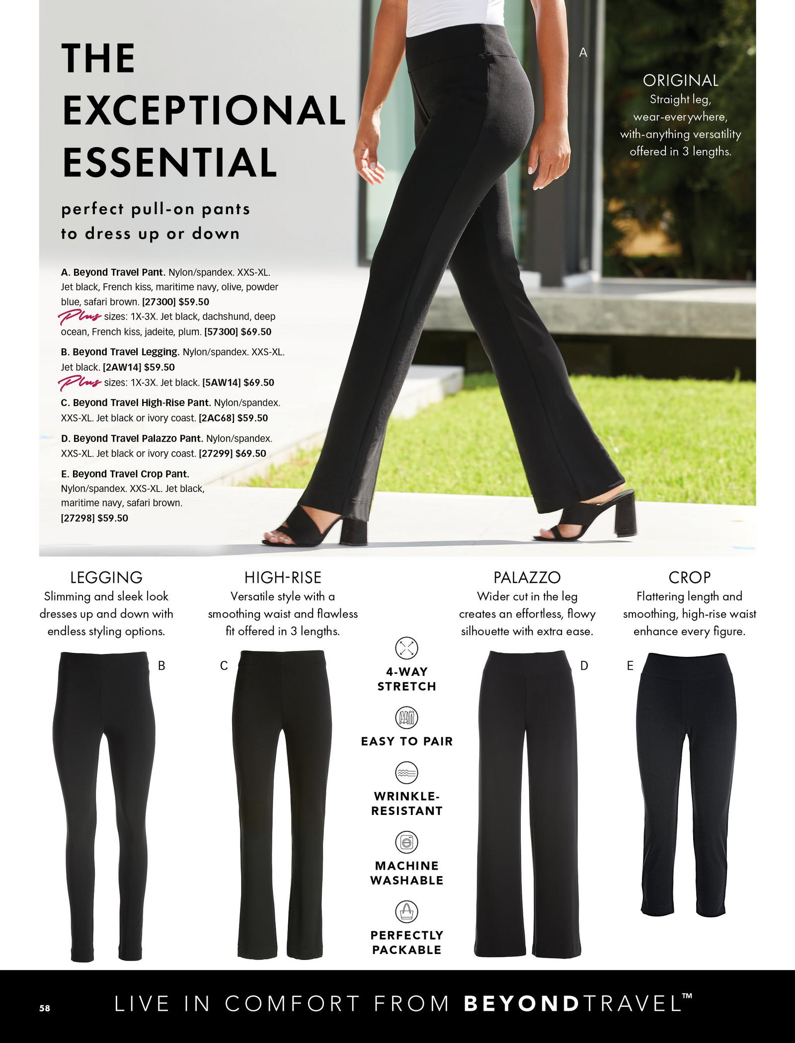 beyond travel pant styles shown in black: the original, the legging, the high-rise, the palazzo, the crop.