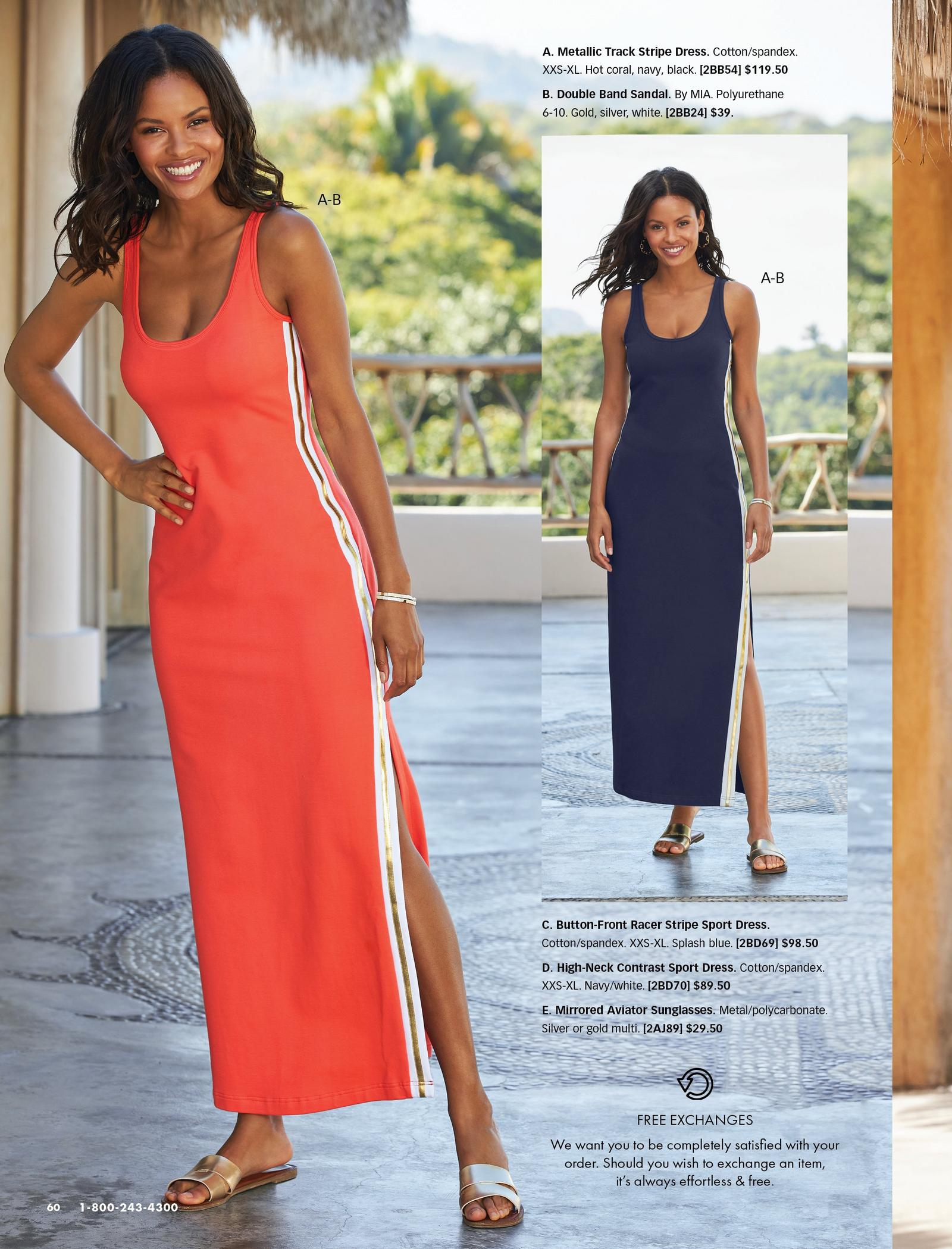 left model wearing an orange sleeveless racer-stripe maxi dress and metallic double-strap sandals. dress also shown in navy.
