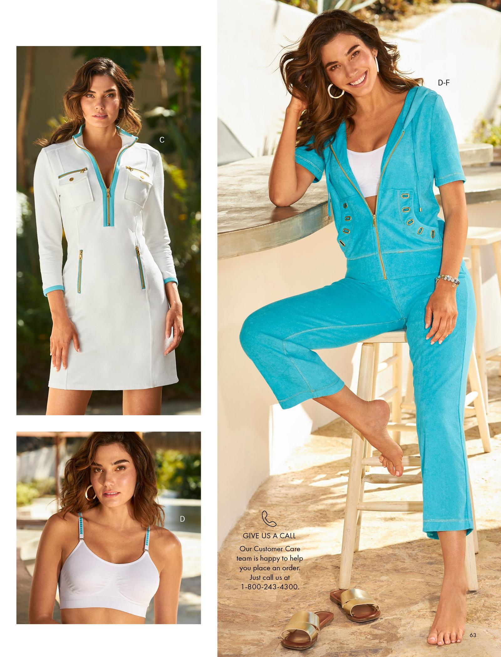 top left model wearing a white and blue long-sleeve chic zip sport dress. bottom left model wearing a white turquoise studded sports bra. right model wearing a terry cloth light blue short-sleeve grommet warm-up and silver hoop earrings with her gold double strap sandals on the floor.