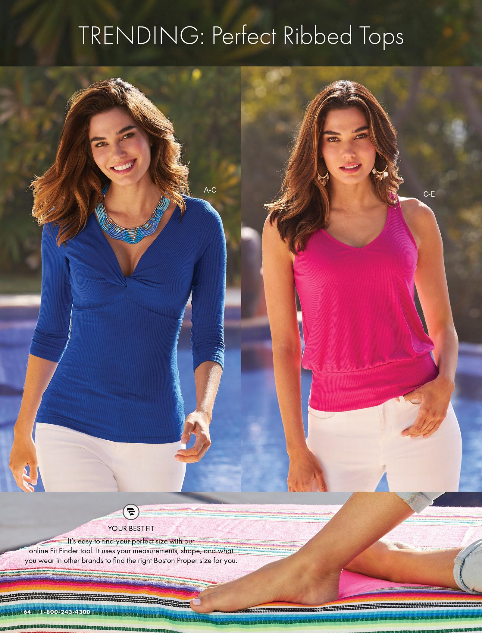 left model wearing a navy v-neck three-quarter sleeve twist-front ribbed top, blue beaded layered necklace, and white jeans. right model wearing a pink ribbed blouson tank top, gold embellished hoop earrings, and white jeans.