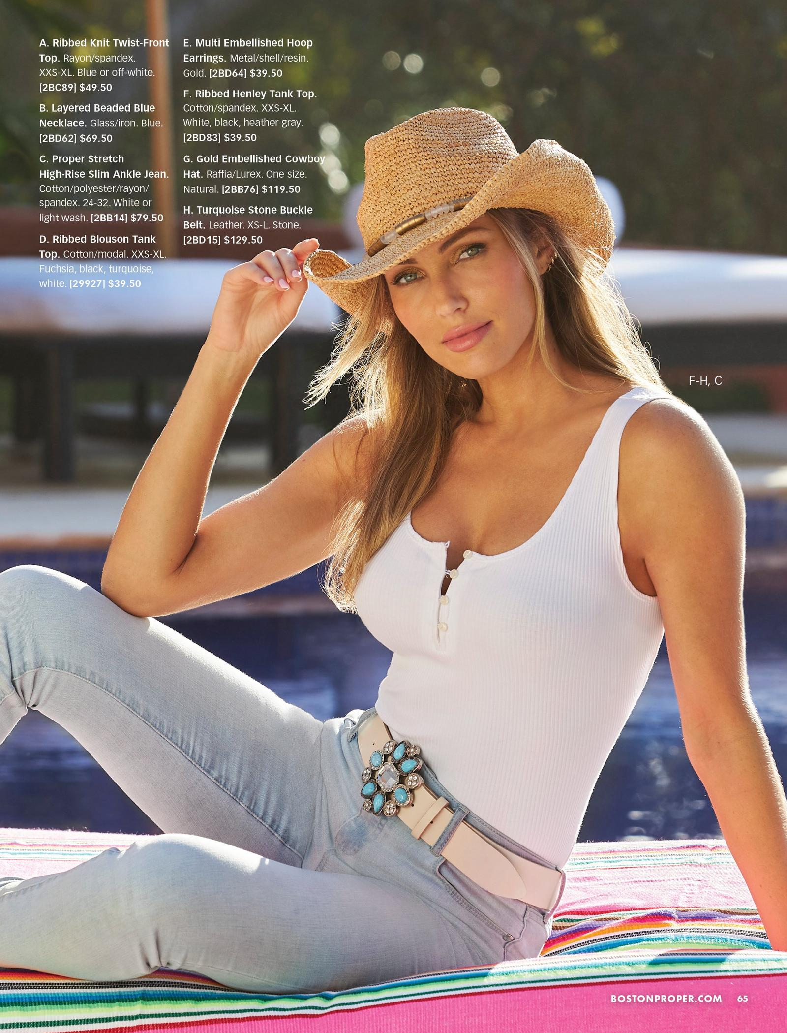 model wearing a white henley tank top, blue stone embellished belt, light wash jeans, and gold embellished cowboy hat.