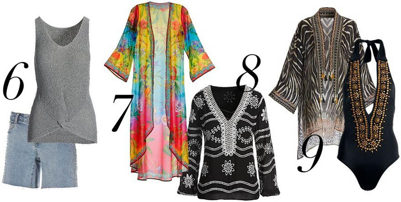 left to right: gray sleeveless sweater and embellished denim shorts, multicolored floral duster, black and white eyelet tunic top, zebra print embellished swim cover up and a black and gold deep-v one piece swimsuit.
