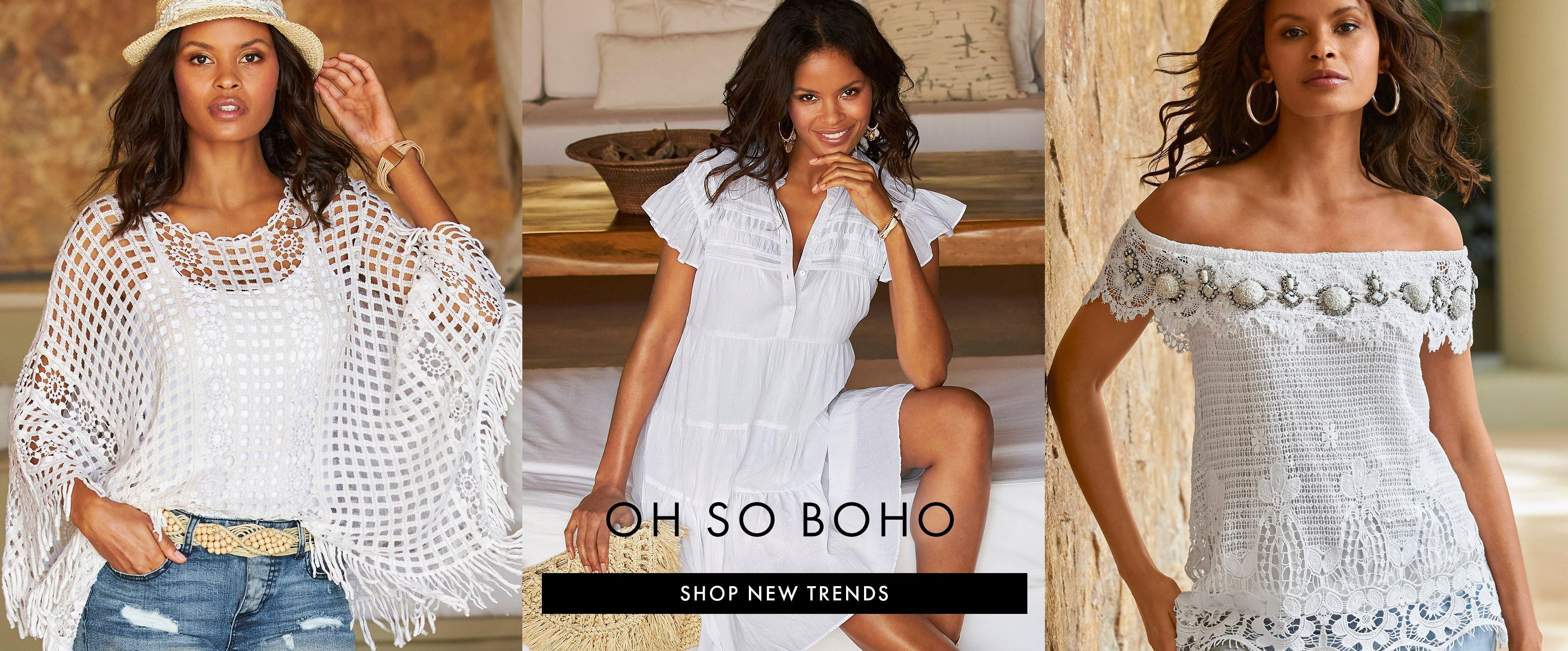 left model wearing a white crochet pullover poncho, white tank top, beige belt, ripped denim shorts, and a straw hat. middle model wearing a white short sleeve tiered shift dress. right model wearing an off-the-shoulder lace and embellished top and gold hoop earrings.