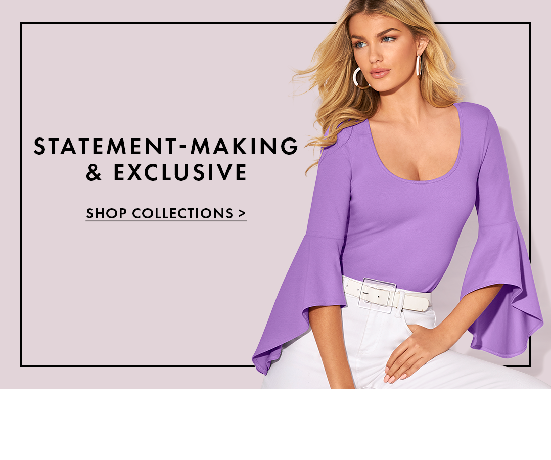 model wearing a lilac drama sleeve scoop neck top, white belt, and white jeans.