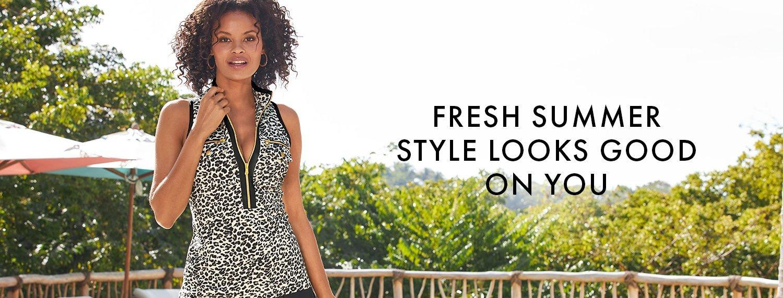 model wearing a leopard print sleeveless collared sport top.