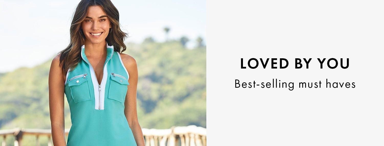 model wearing a light blue sleeveless collared sport dress.