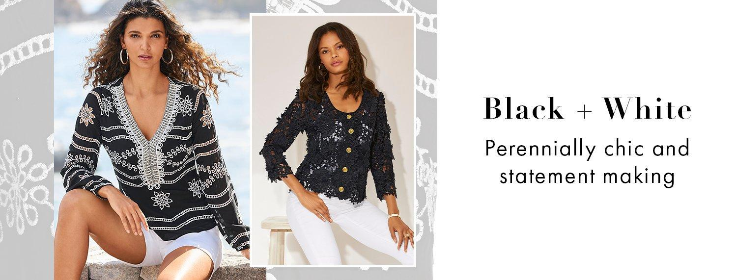 left model wearing a black long-sleeve eyelet embellished tunic top and white shorts. right model wearing a black lace jacket, white tank top, and white jeans.