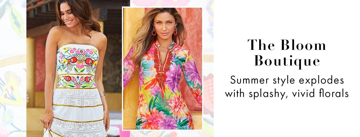 left model wearing a white strapless lace inset maxi dress with floral embroidery. right model wearing a multicolored tropical print embellished long-sleeve tunic dress.