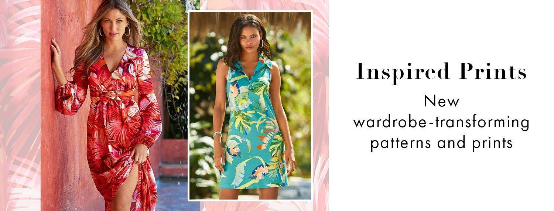 left model wearing a pink tropical print long-sleeve v-neck maxi dress. right model waring a light blue tropical print sleeveless collared sport dress.