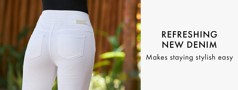model wearing white pull-on denim and black tops.