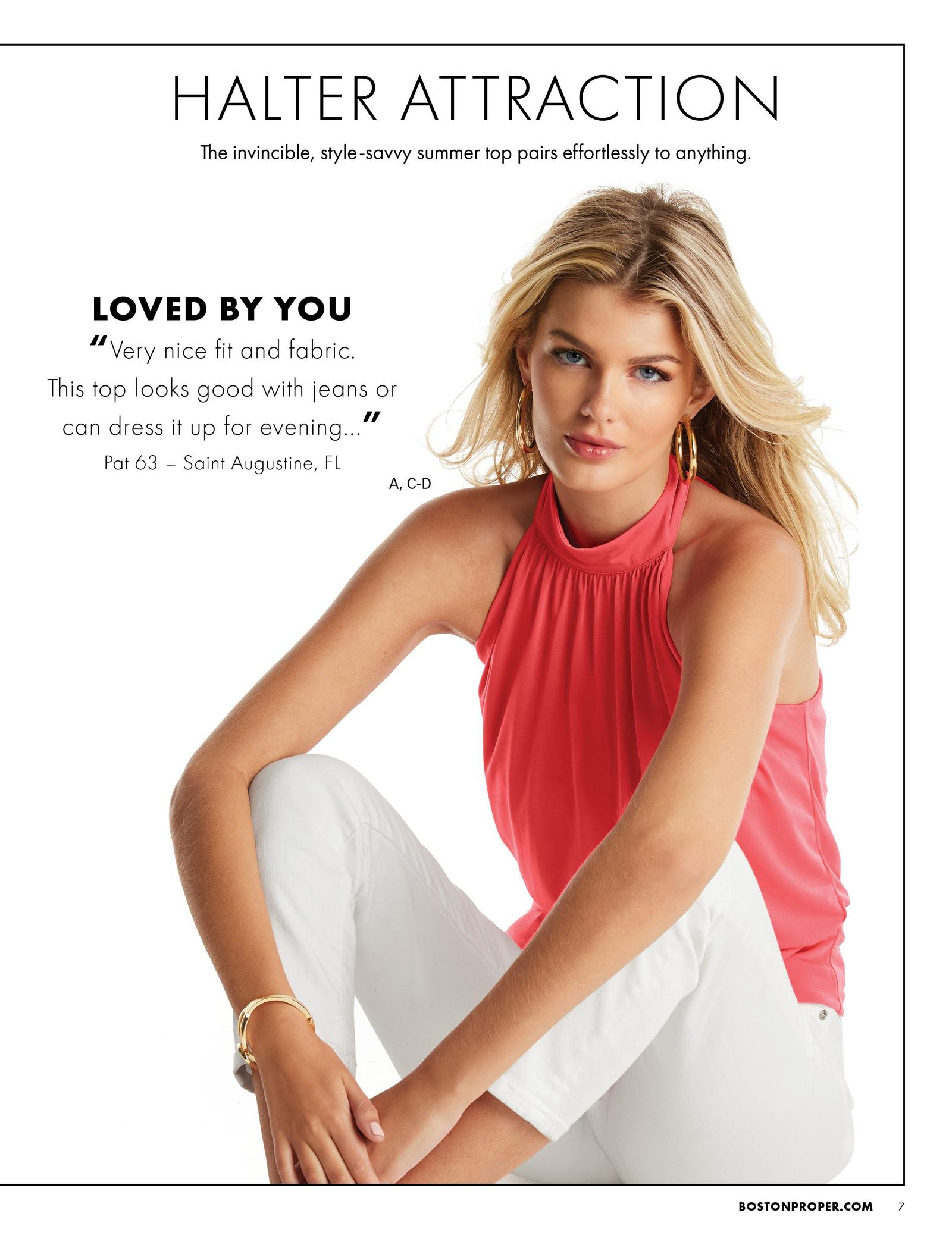 model wearing a coral halter banded-bottom mock-neck top and white jeans.