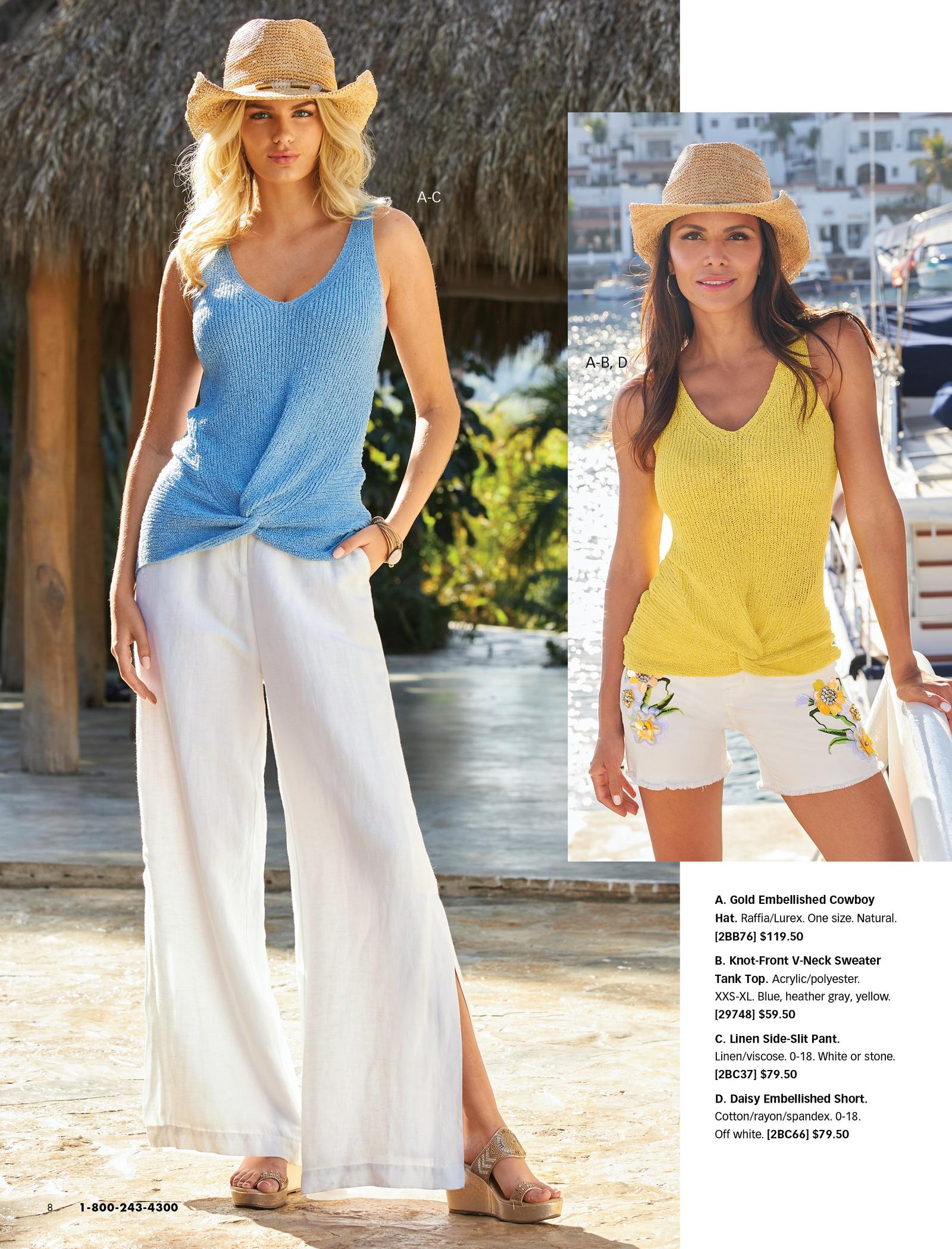 left model wearing a light blue twist-front sleeveless sweater, white side-slit linen pants, gold embellished cowboy hat, and gold wedges. right model wearing a white twist-front sleeveless sweater, yellow daisy embellished white jean shorts, and gold embellished cowboy hat.