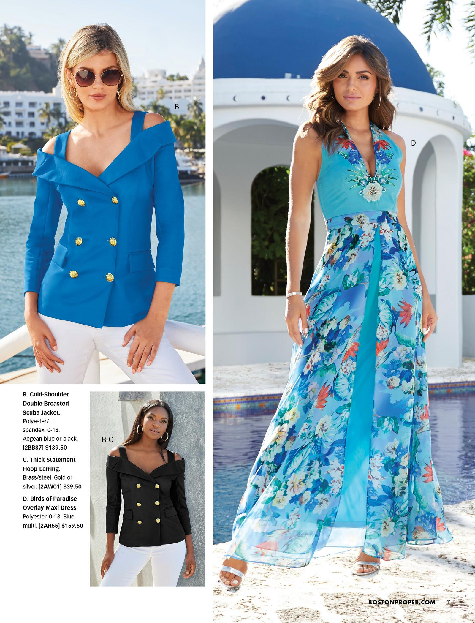 top left model wearing a blue cold-shoulder double-breasted blazer, white jeans, and sunglasses. bottom left model wearing same blazer in black. right model wearing a light blue and floral print overlay sleeveless jumpsuit.
