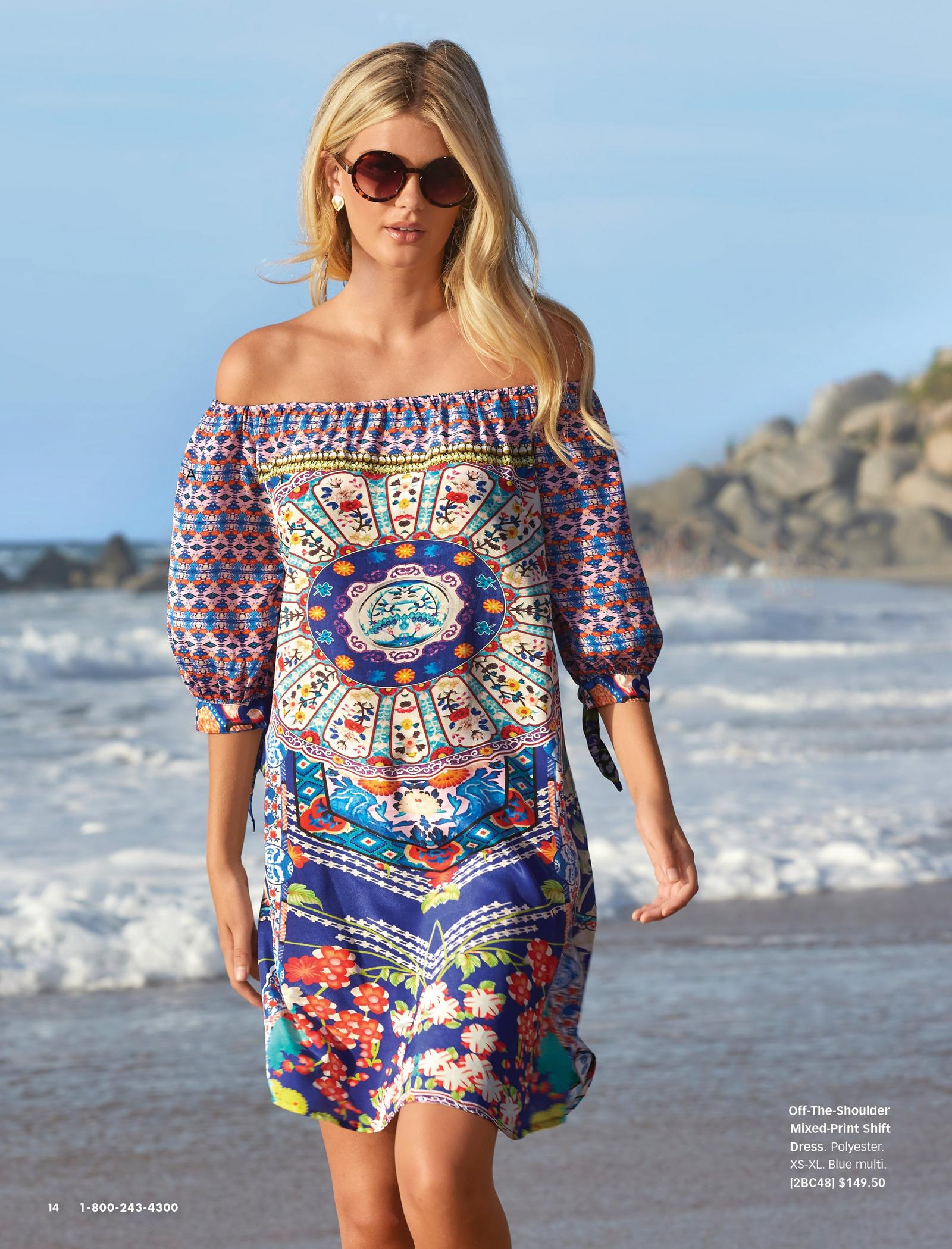 model wearing an off-the-shoulder mixed-print shift dress and sunglasses.