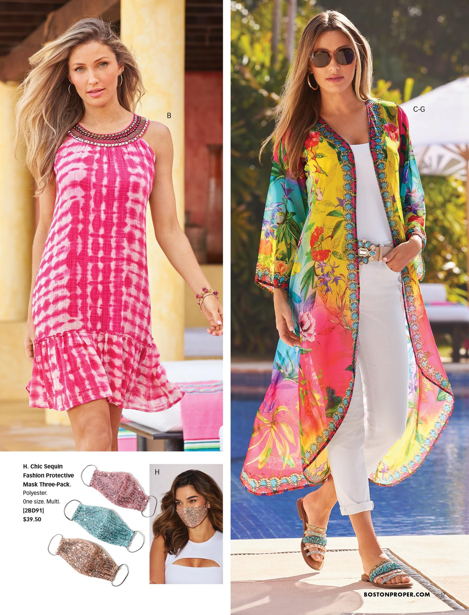 left model wearing a pink tie-dye embellished neckline sleeveless shift dress. right model wearing a multicolored floral embellished duster, white tank top, turquoise embellished belt, white jeans, turquoise studded sandals, and sunglasses. also shown: glitter face masks in pink, gold, and blue.
