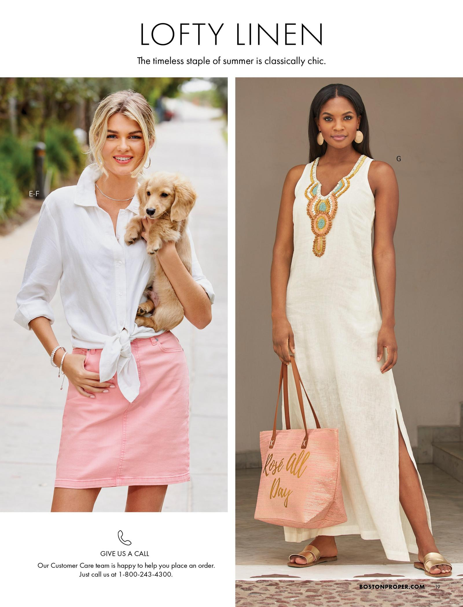 left model wearing a white tie-front button-down linen top and pink denim skort. right model wearing a white sleeveless linen maxi dress with jewel embellishments, gold strappy sandals, and holding a pink tote bag.