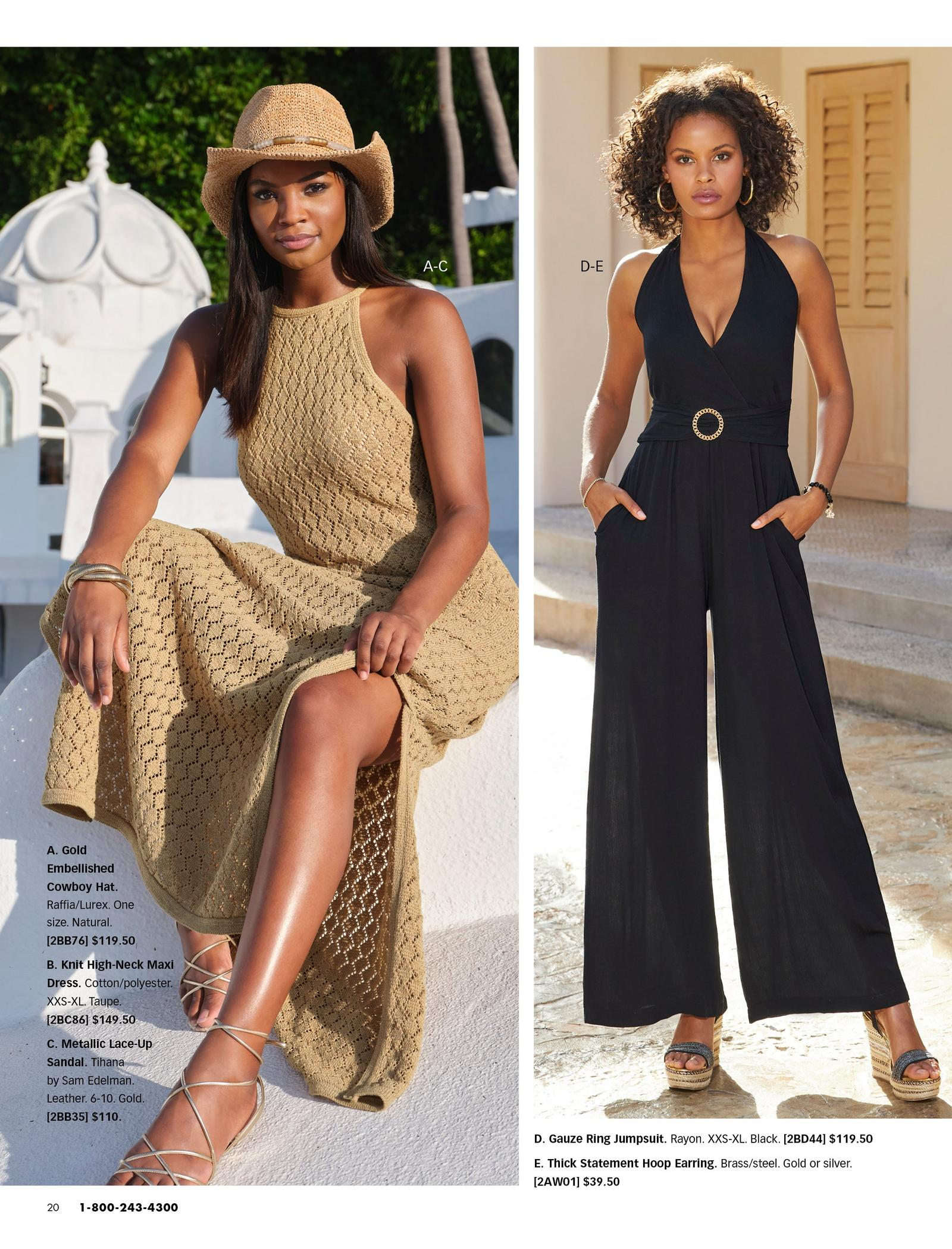left model wearing a tan high-neck sleeveless knit maxi dress, gold lace-up sandals, and a gold embellished straw hat. right model wearing a ring detail black jumpsuit and black wedges.