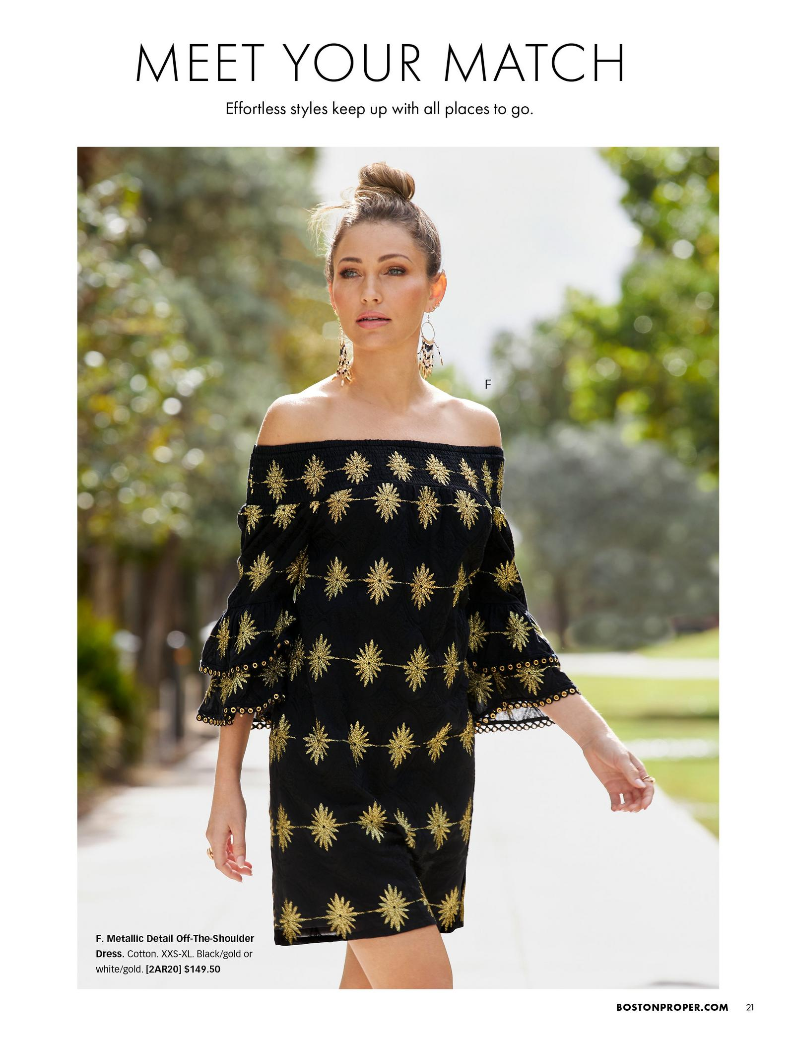 model wearing a black and gold off-the-shoulder flare-sleeve dress.