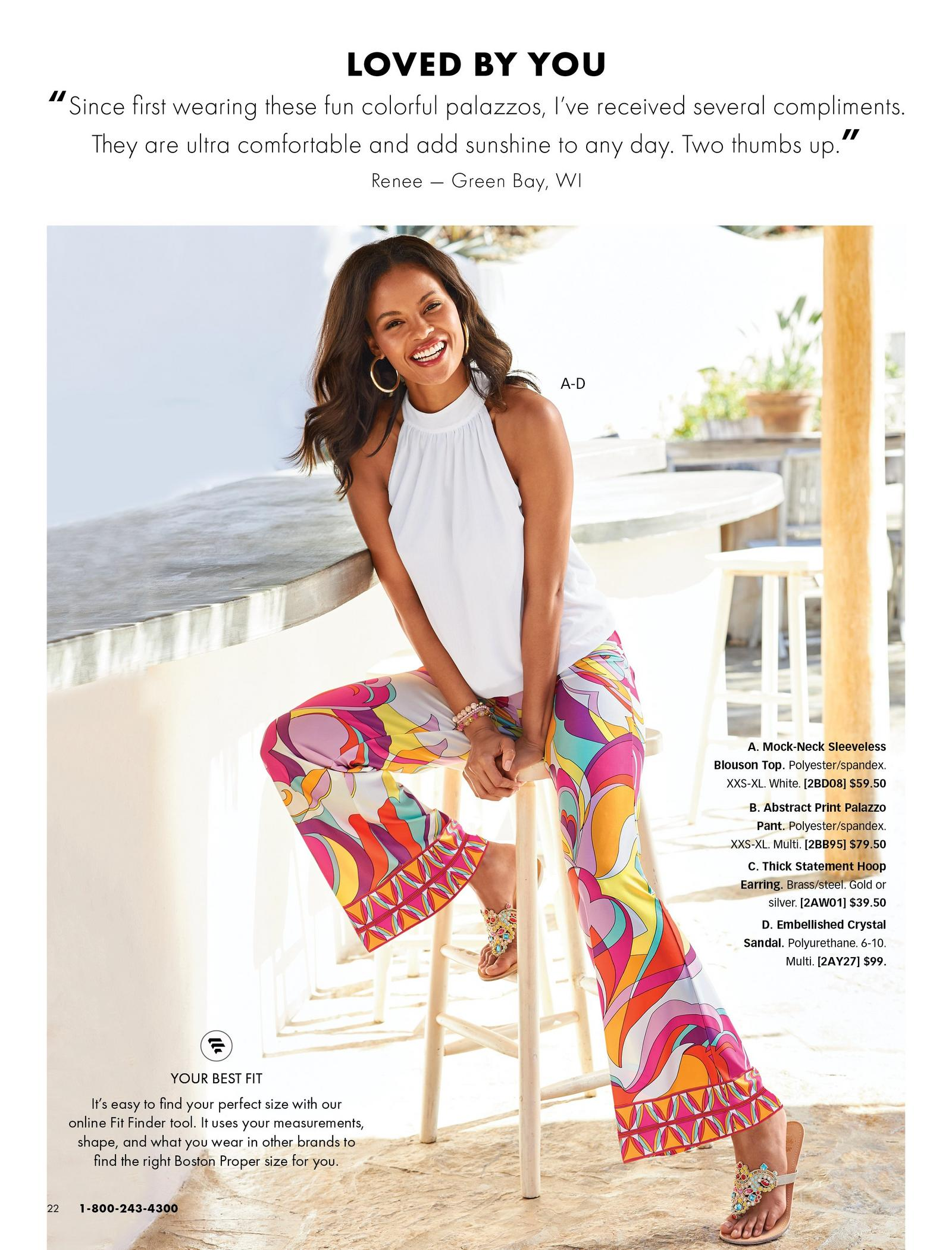 model wearing a white high-neck blouson sleeveless top, paisley print multicolored palazzo pants, and multicolored jewel sandals.