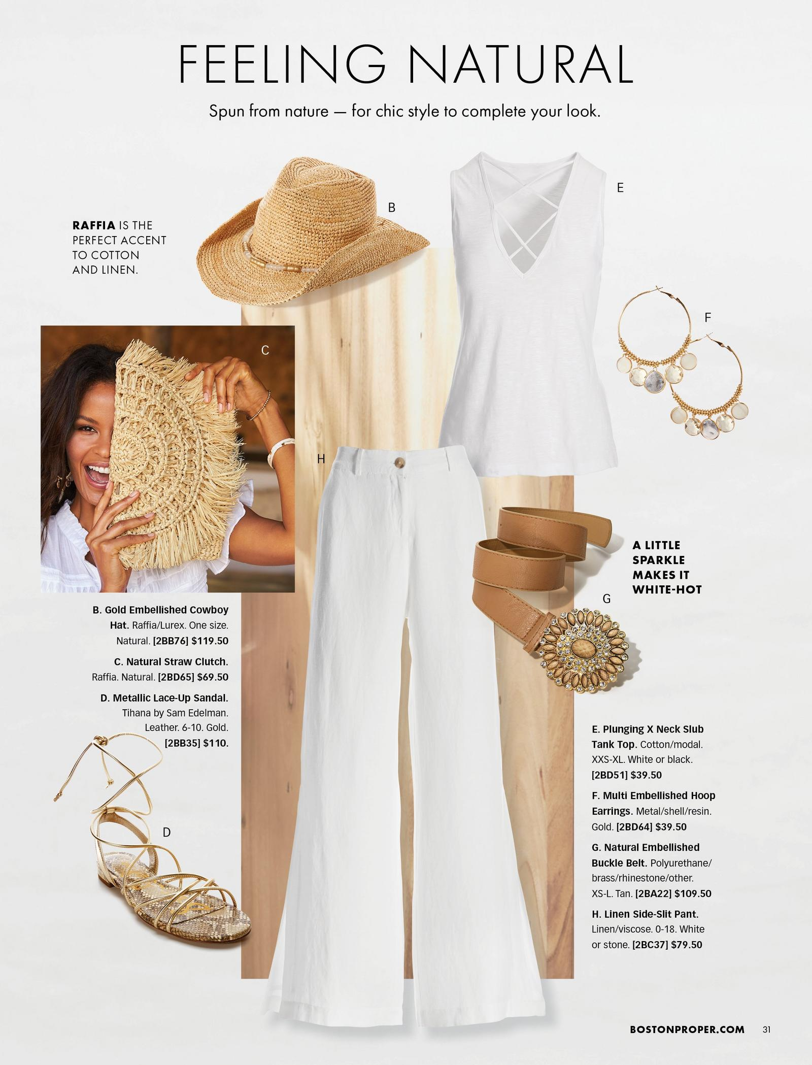 individual items shown: white x-neck tank top, gold embellished cowboy hat, white linen side-slit palazzo pants, gold embellished brown belt, gold hoop earrings, gold lace-up sandals, and straw clutch.