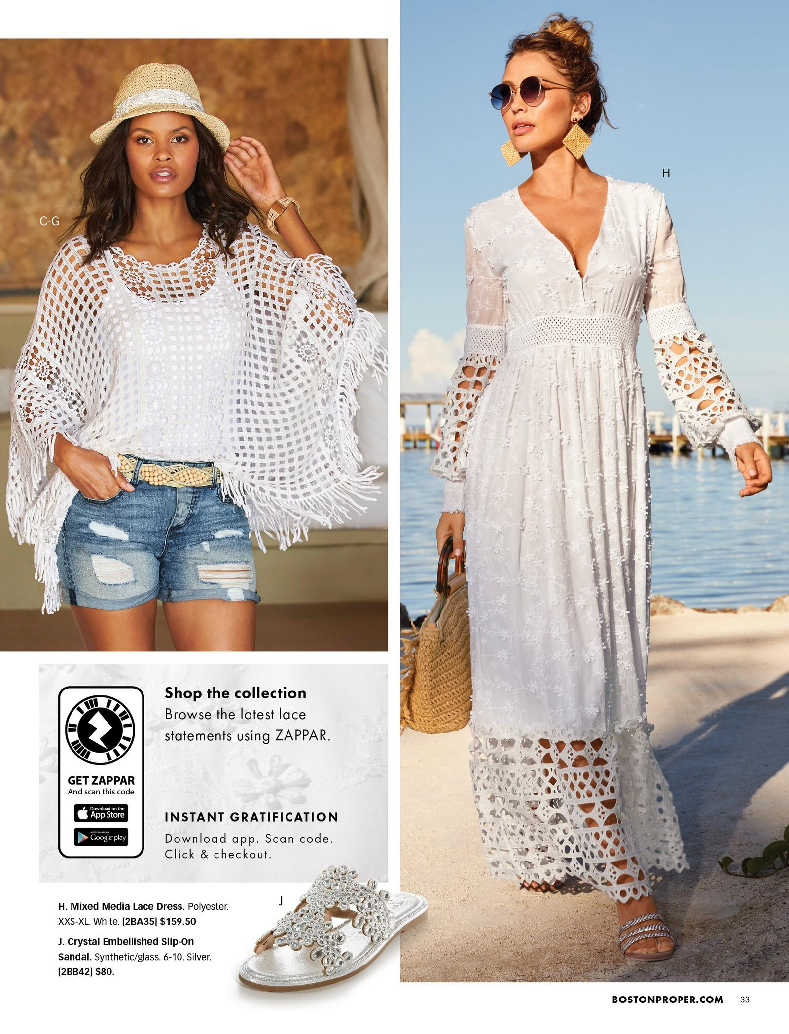 left model wearing a white crochet poncho, white tank top, beige belt, ripped jean shorts, and white lace embellished straw hat. right model wearing a white long-sleeve lace v-neck maxi dress and sunglasses. also shown: silver jeweled slide sandals.