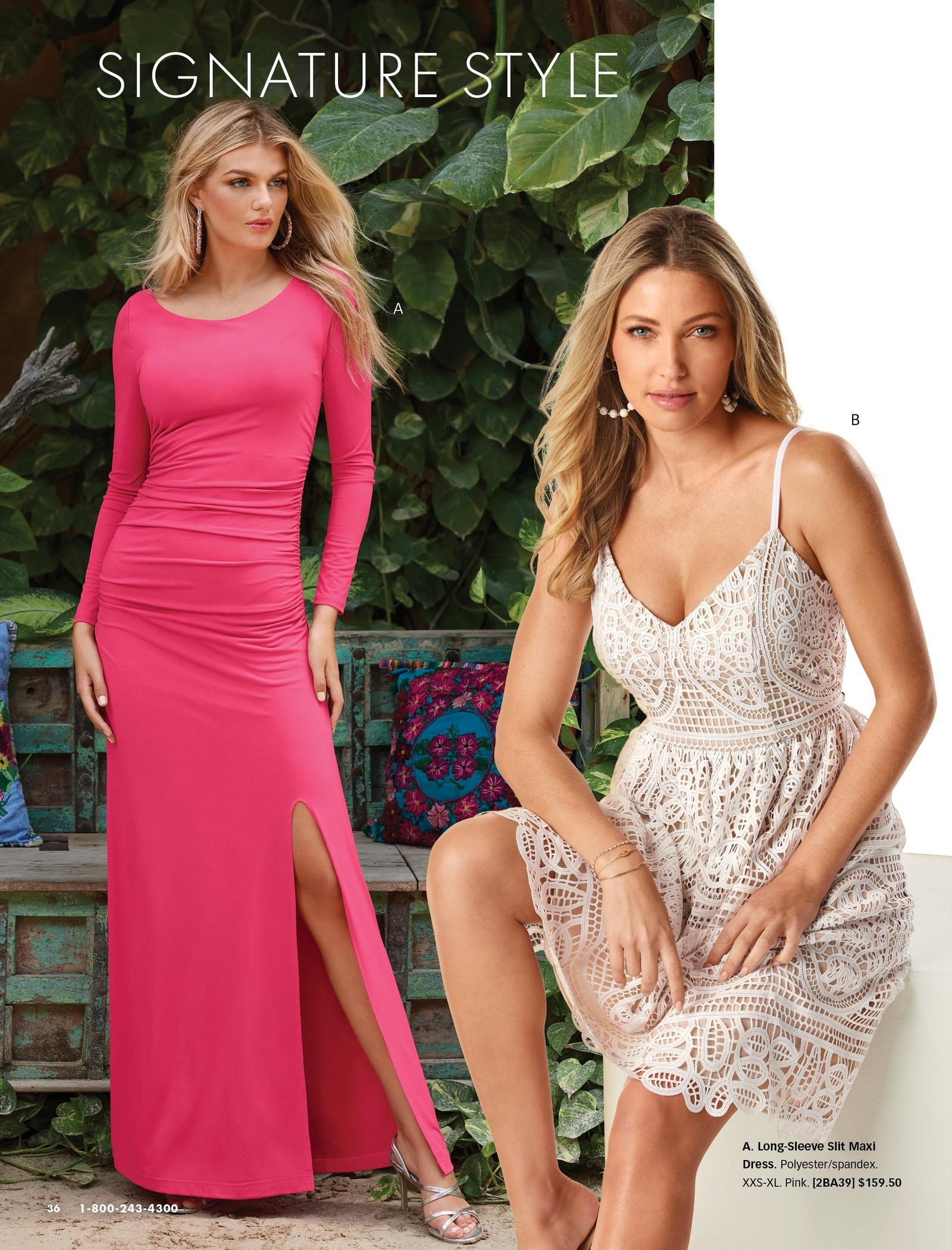 left model wearing a pink long-sleeve side-slit ruched maxi dress. right model wearing a white lace fit and flare sleeveless dress.