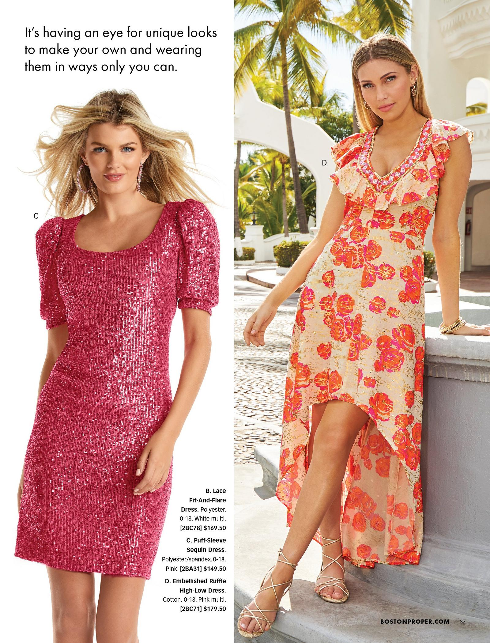 left model wearing a pink sequin puff-sleeve dress. right model wearing an orange floral ruffle and sequin embellished high-low sleeveless maxi dress.