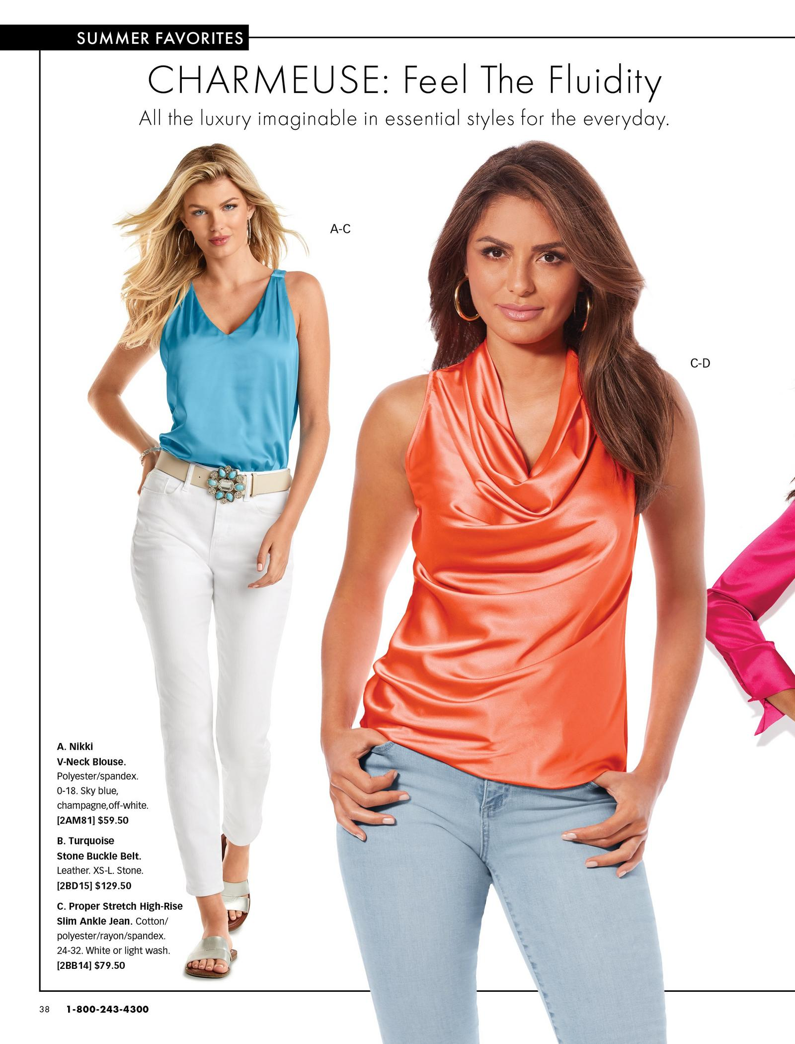 left model wearing a light blue v-neck sleeveless top, turquoise jeweled white belt, white jeans, and silver slide sandals. right model wearing a coral cowl neck sleeveless top and jeans.