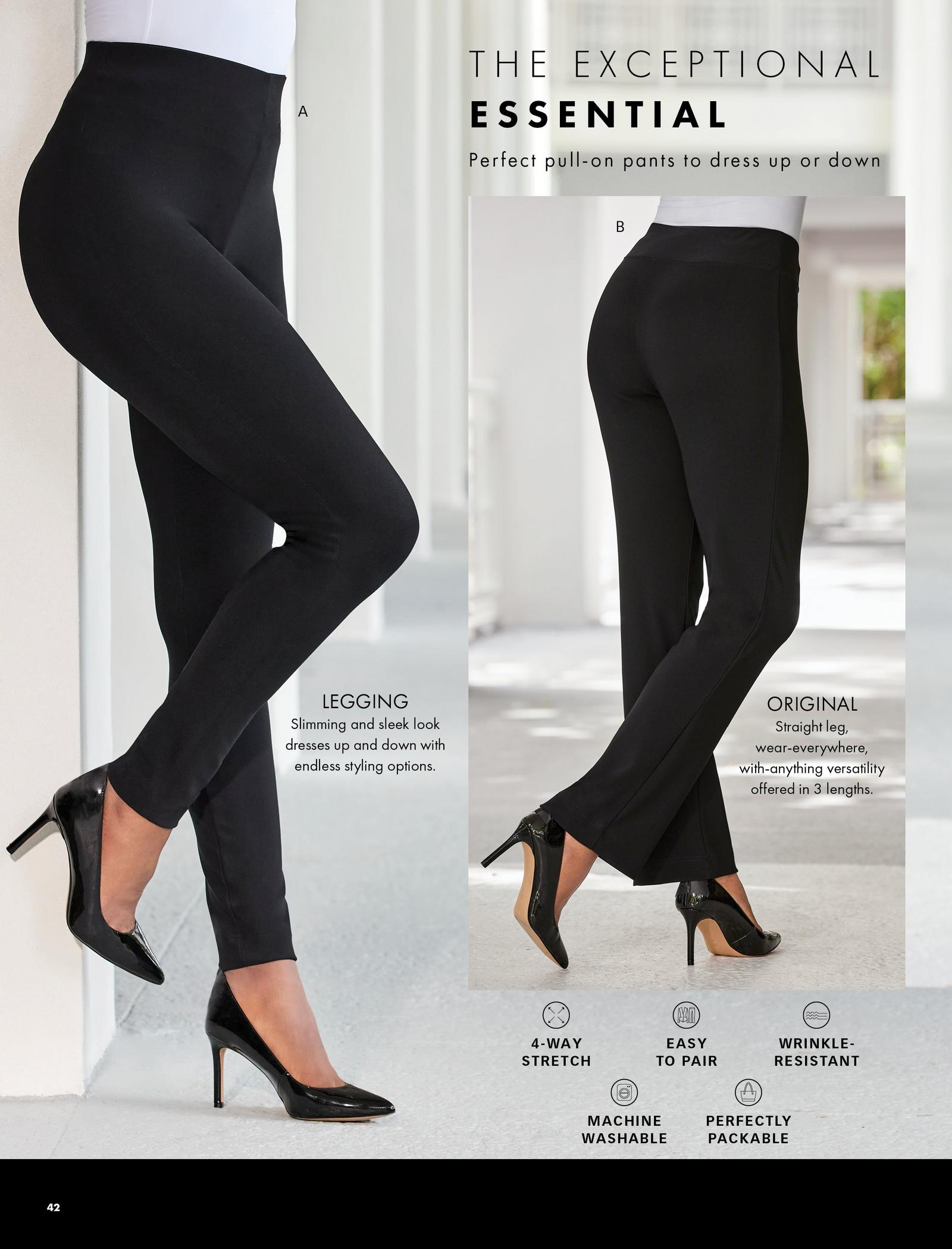 left model wearing black leggings, white top, and black pumps. right model wearing black pants, black pumps, and white top.