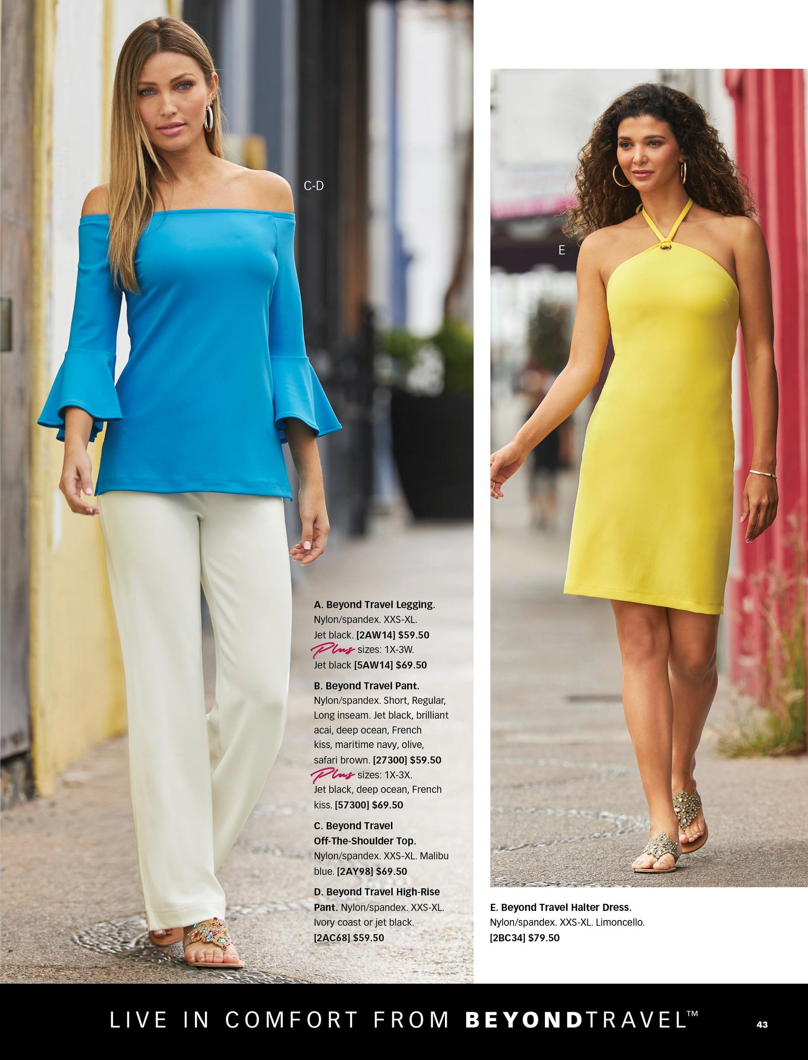 left model wearing a light blue off-the-shoulder flare-sleeve long-sleeve top, off-white high-rise pants, and multicolored jewel sandals. right model wearing a yellow halter neck dress and gold jeweled sandals.