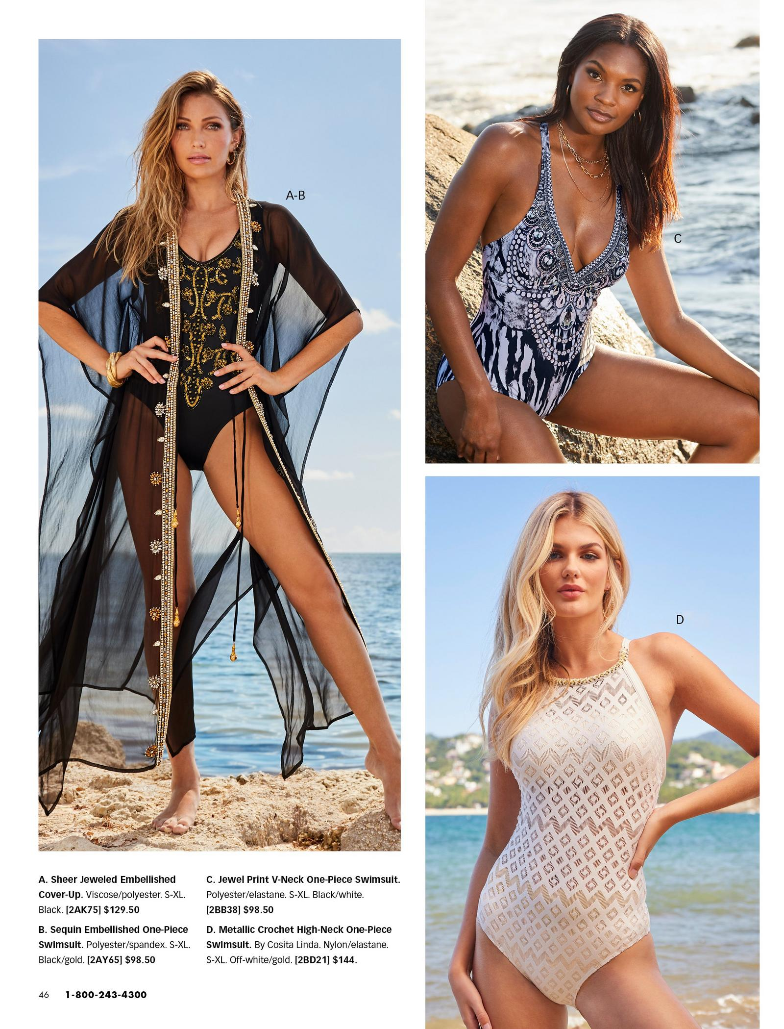 left model wearing a black and gold embellished one-piece swimsuit and a black and gold sheer duster coverup. top right model wearing a blue jewel printed one-piece swimsuit. bottom right model wearing a white high-neck crochet one piece swimsuit.