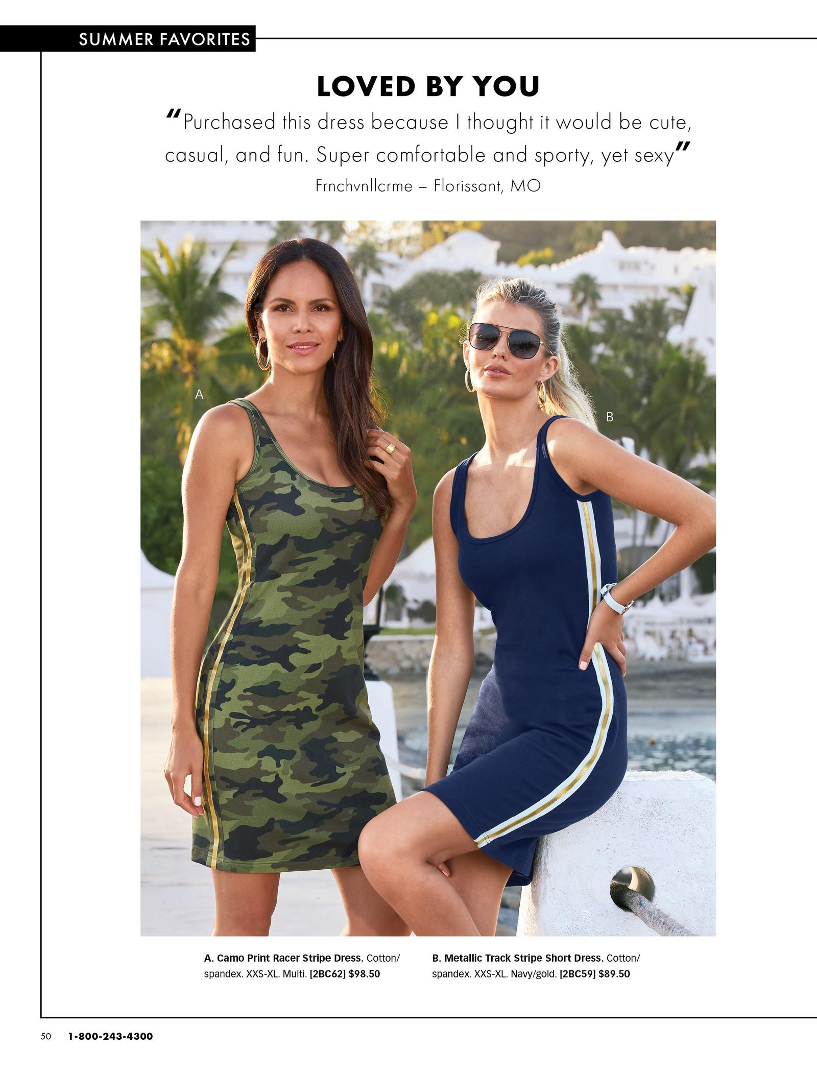 left model wearing a sleeveless camo sports dress with gold racer stripes. right model wearing a navy sleeveless sport dress with white and gold racer stripes and sunglasses.