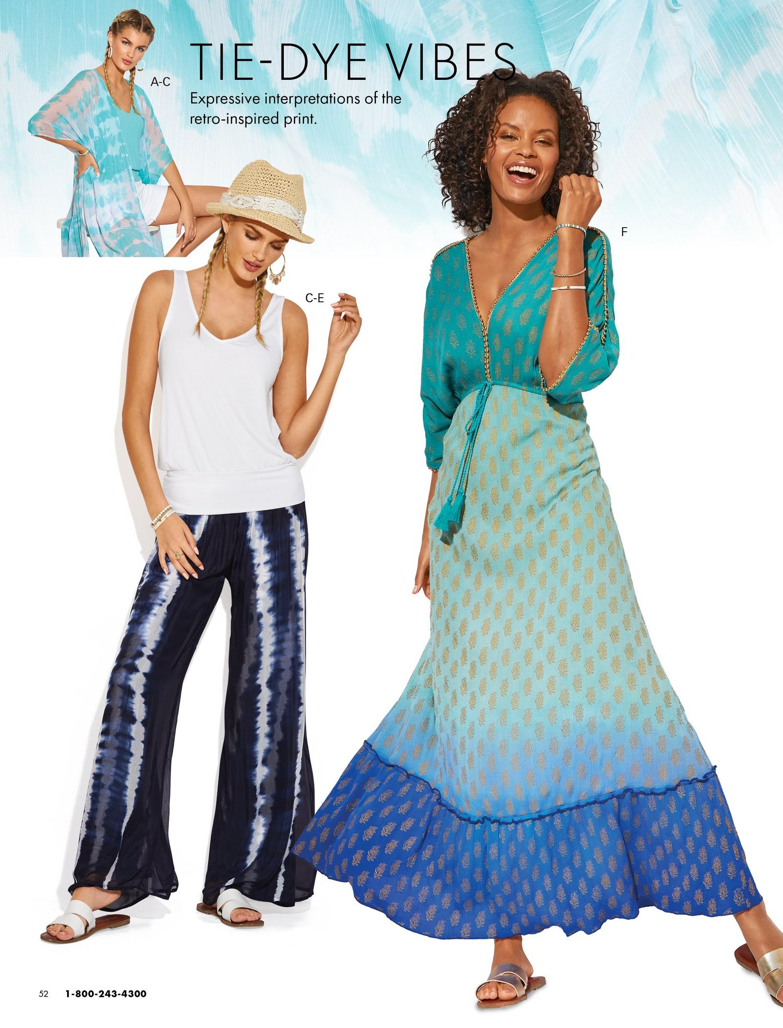 left model wearing a blue and white tie-dye duster, light blue tank top, and white denim shorts. middle model wearing a white blouson sleeveless top, blue and white tie-dye palazzo pants, white double-strap sandals, and straw white lace embellished hat. right model wearing a three-quarter sleeve v-neck blue ombre maxi dress and studded slip-on sandals.