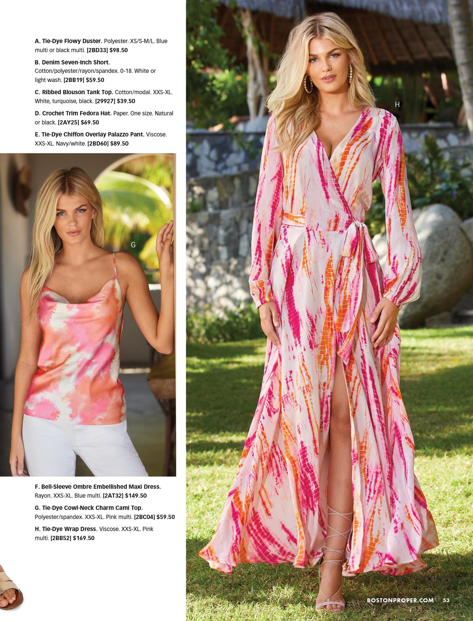 left model wearing a pink and orange tie-dye cowl neck tank top and white jeans. right model wearing a pink and orange tie-dye long-sleeve wrap maxi dress and gold lace-up sandals.