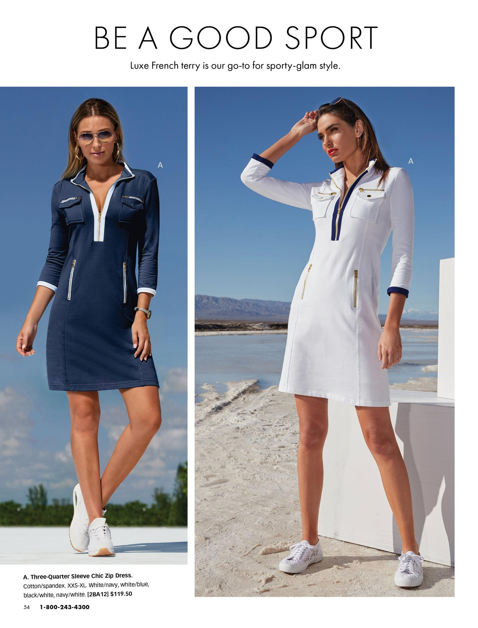 left model wearing a navy long-sleeve sport dress and white sneakers. right model wearing a white long-sleeve sport dress with white sneakers.