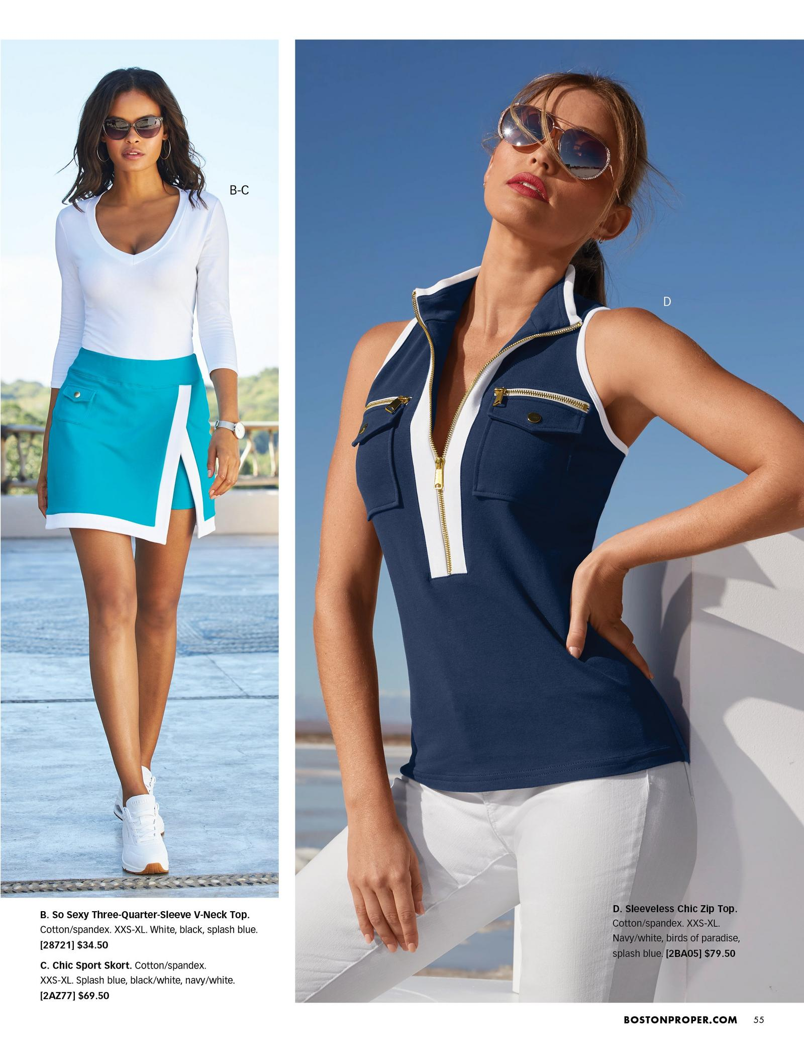 left model wearing a white three-quarter sleeve scoop-neck top, light blue and white sport skort, white sneakers, and sunglasses. right model wearing a navy sleeveless zipper sport top, white jeans, and sunglasses.