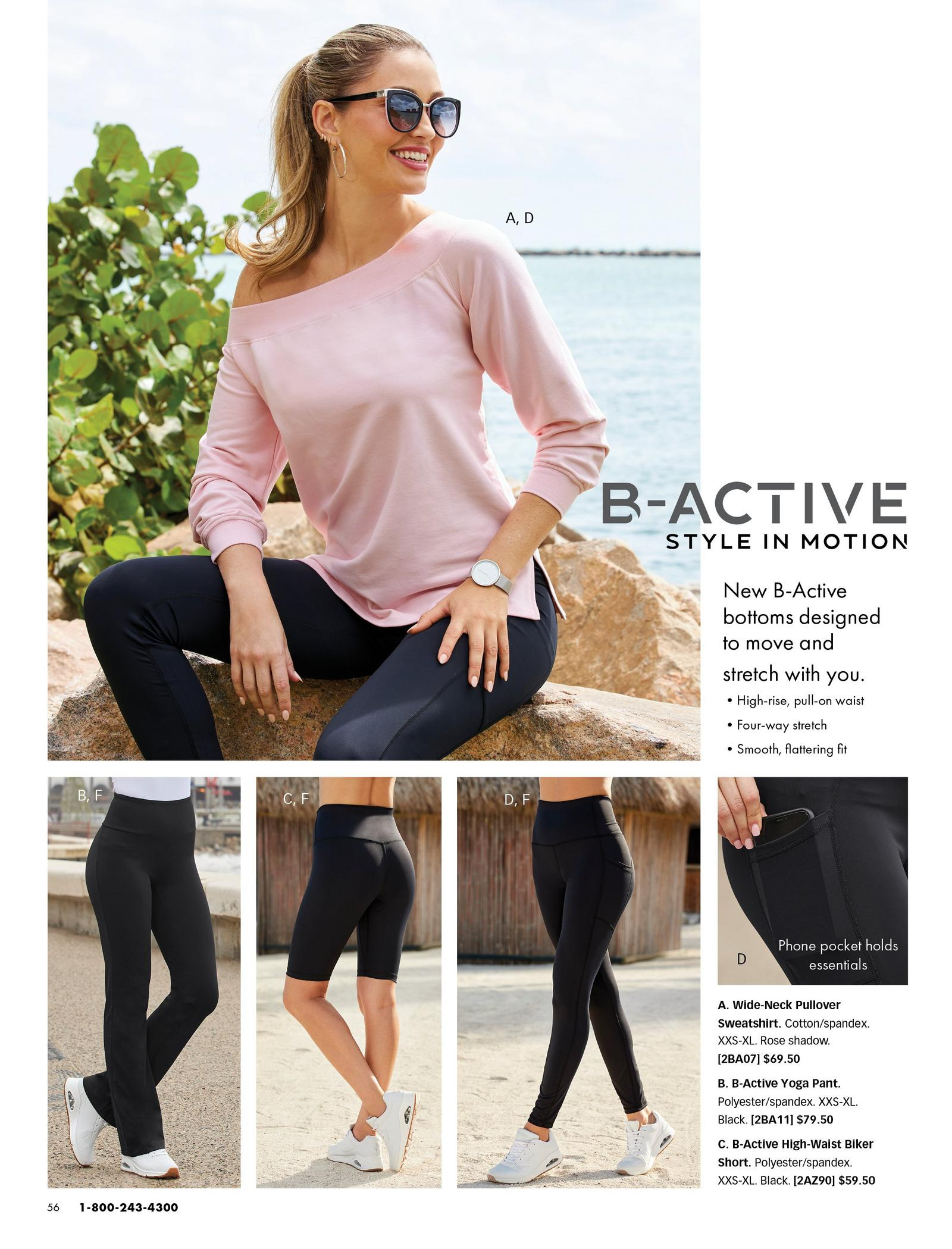 top model wearing a pink off-the-shoulder long-sleeve top, black leggings, and sunglasses. bottom panel left to right: black yoga pants, black biker shorts, black leggings with pockets.