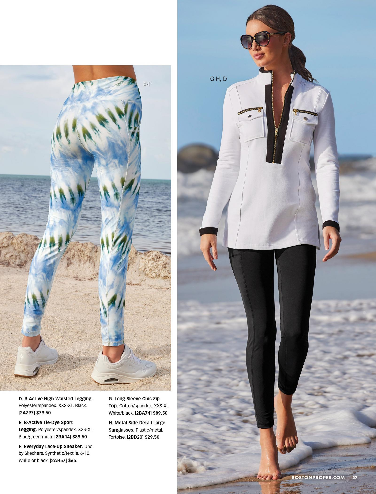 left model wearing blue, white, and green tie-dye leggings and white sneakers. right model wearing a white and black zipper long-sleeve sport top, black leggings, and sunglasses.