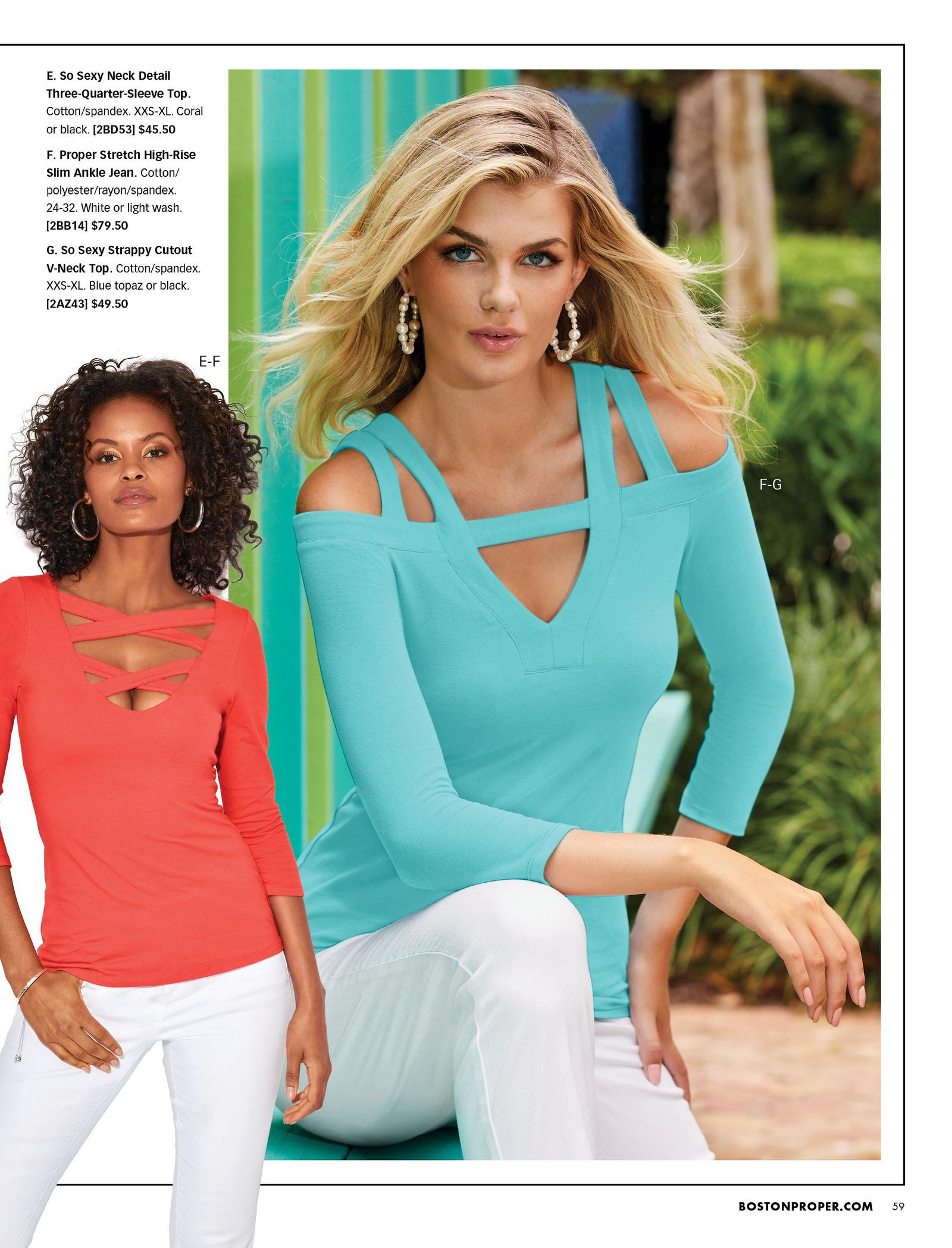 left model wearing an orange keyhole three-quarter sleeve top and white jeans. right model wearing a keyhole cold-shoulder light blue three-quarter sleeve top and white jeans.